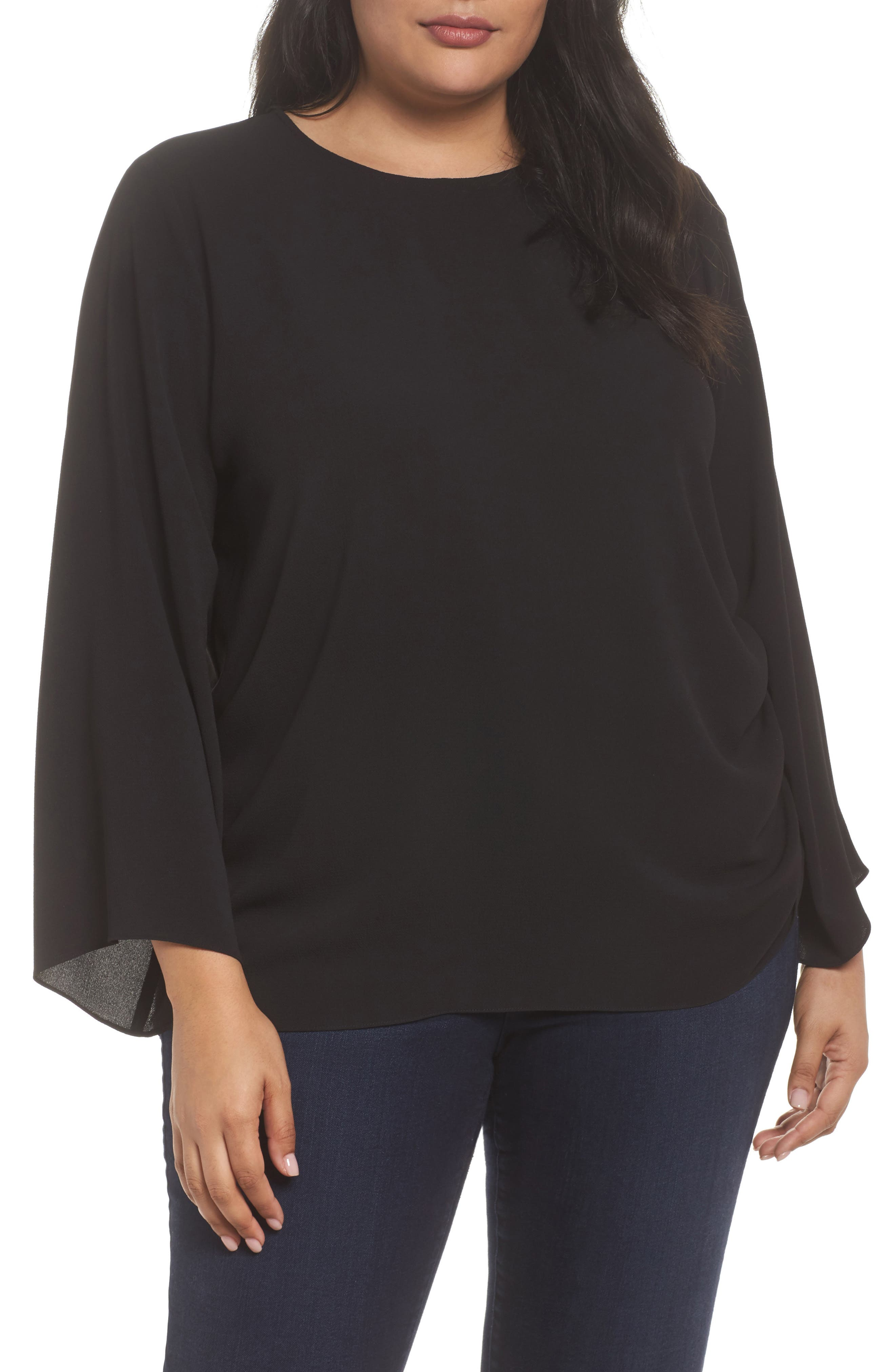 Drawstring Side Blouse,                         Main,                         color, Rich Black