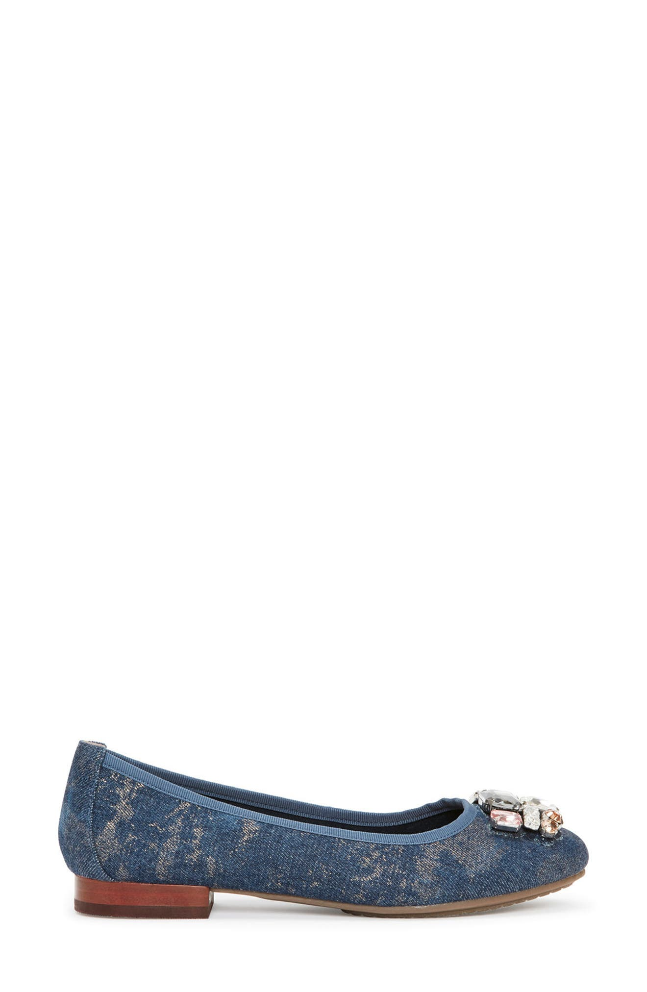 Sapphire Crystal Embellished Flat,                             Alternate thumbnail 3, color,                             Blue Champagne Denim Fabric