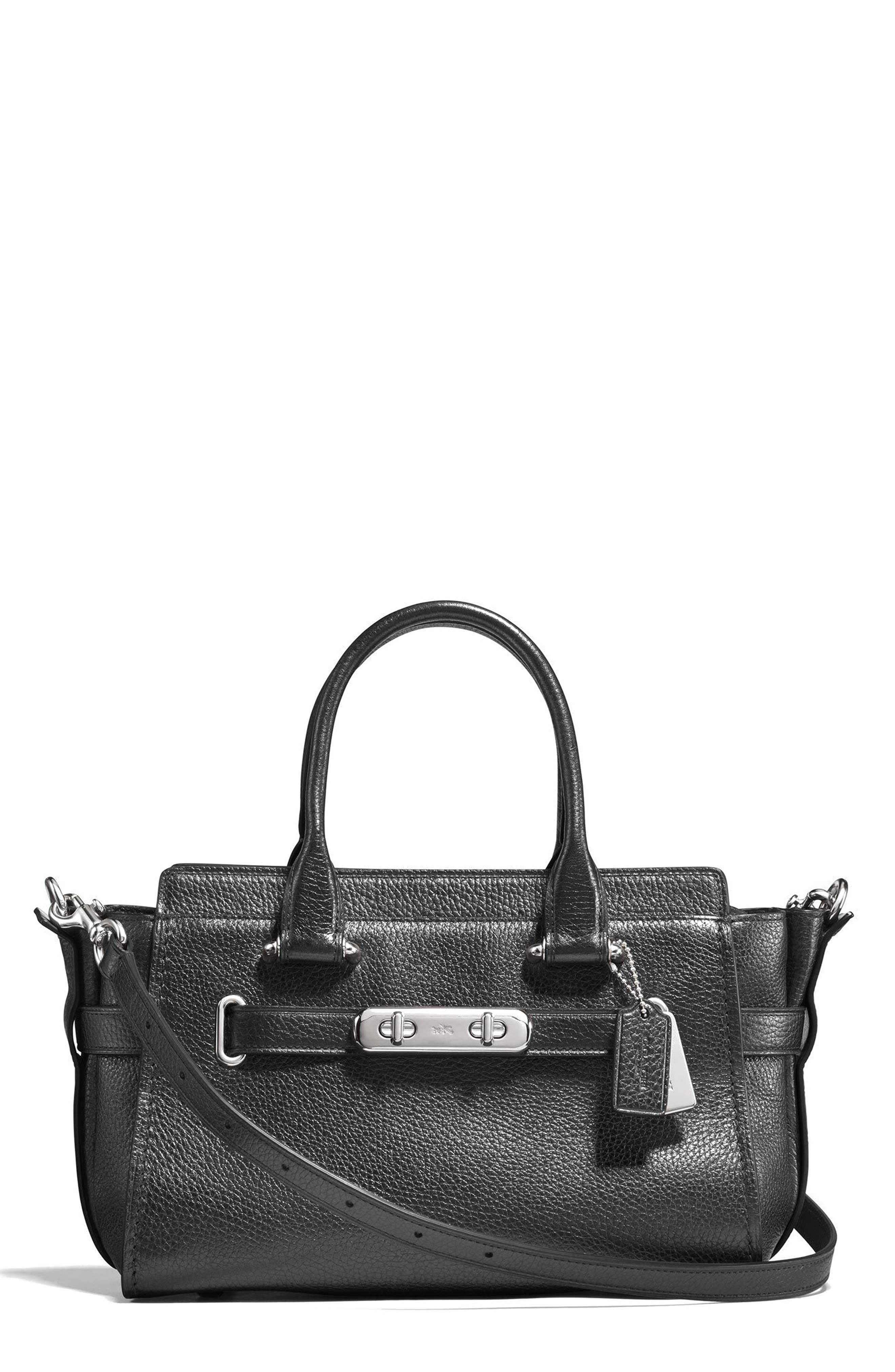 COACH Swagger 27 Metallic Pebbled Leather Satchel