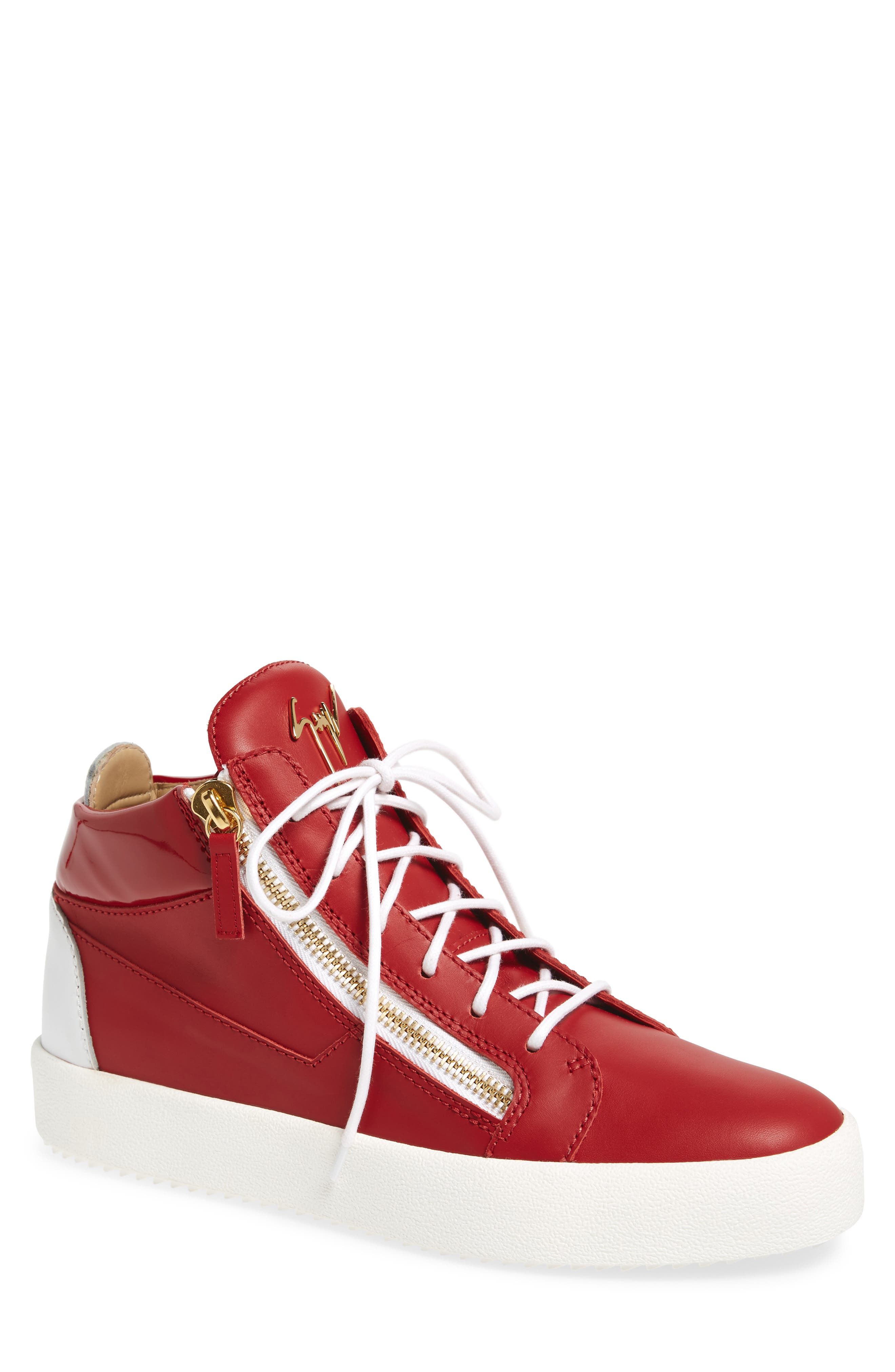 Double Zipper Mid Top Sneaker,                             Main thumbnail 1, color,                             Red W/ White Leather