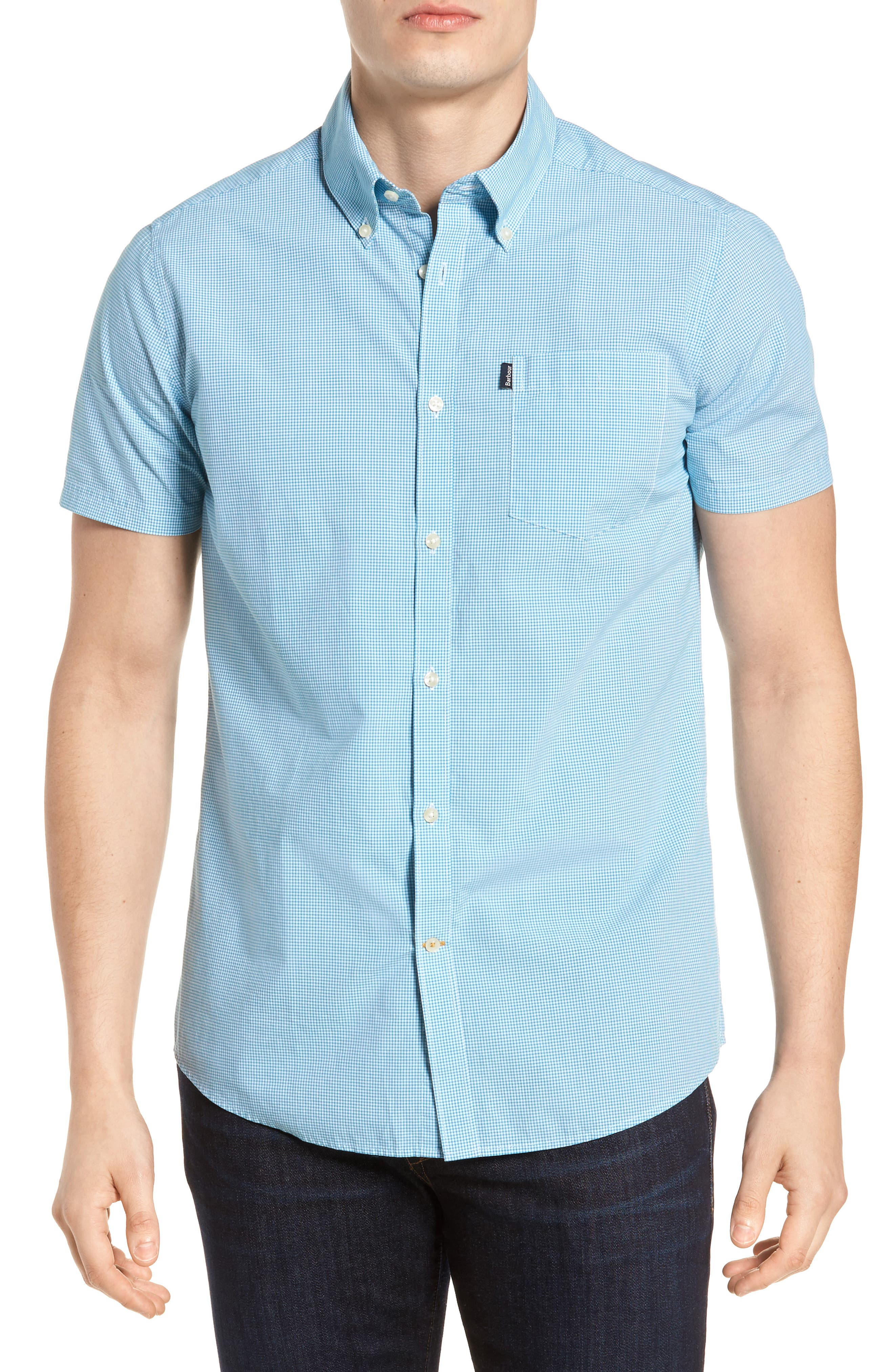 Triston Regular Fit Check Sport Shirt,                             Main thumbnail 1, color,                             Turquoise