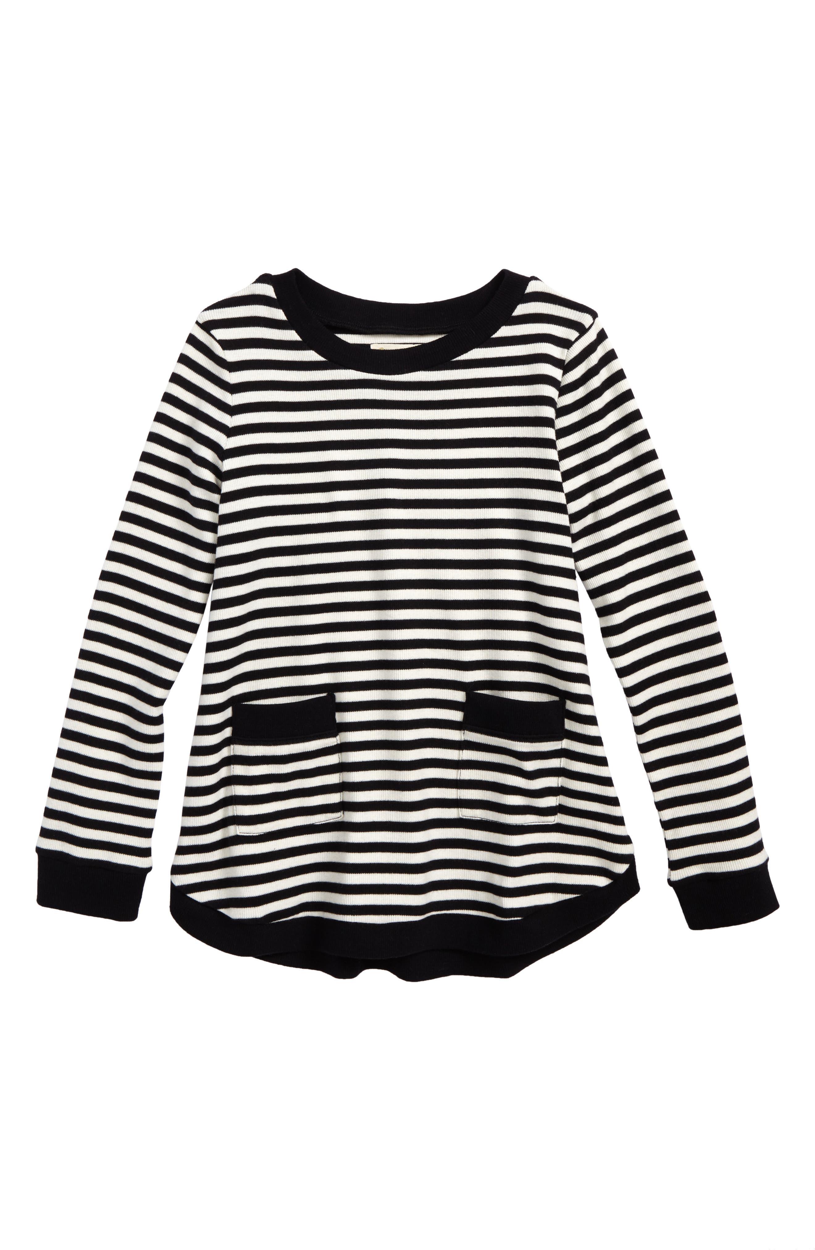 Heart Elbow Patch Stripe Tunic Top,                             Main thumbnail 1, color,                             Black Rock- Ivory Stripe