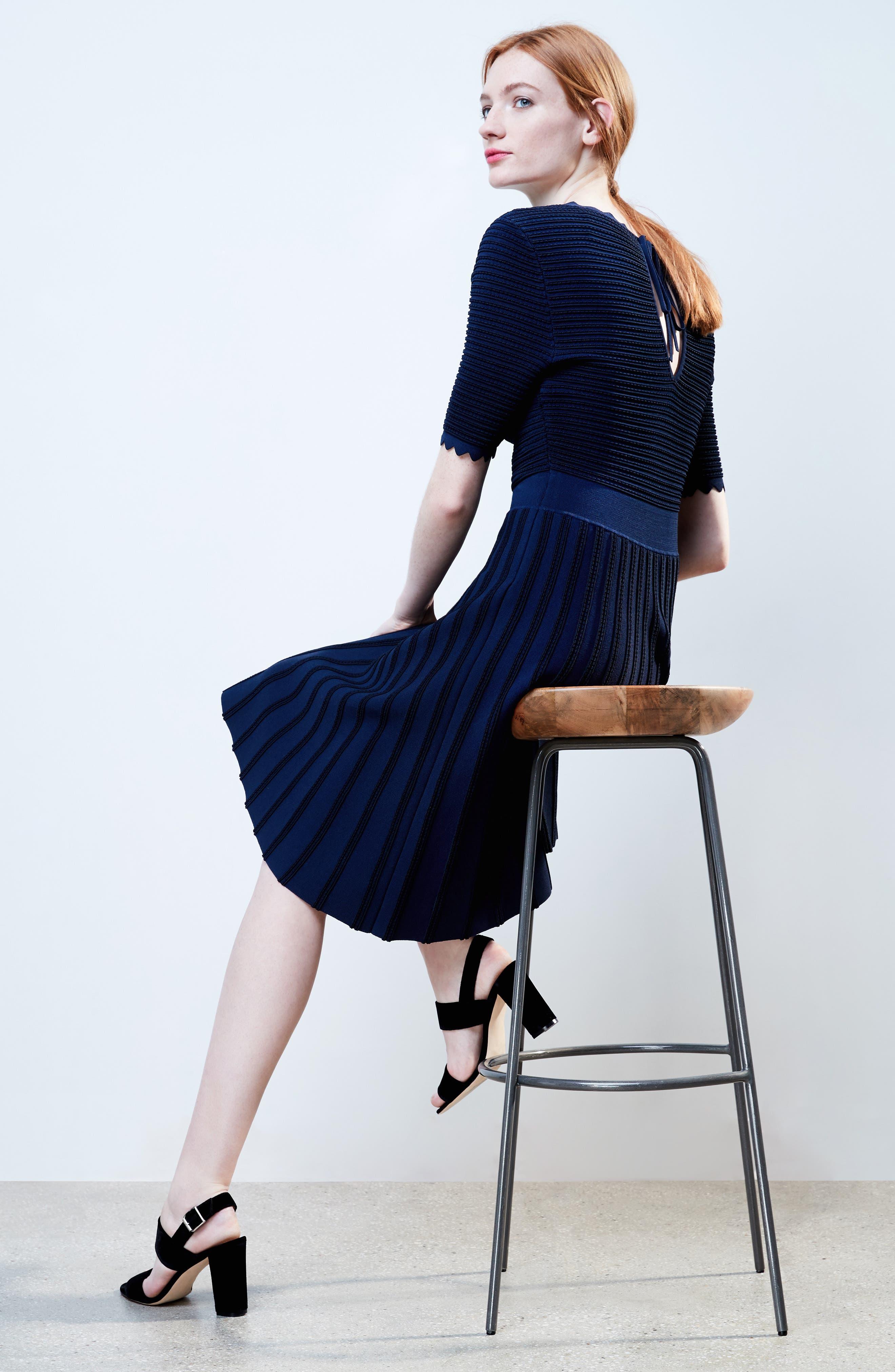 Scallop Trim Stripe Dress,                             Alternate thumbnail 2, color,                             Navy