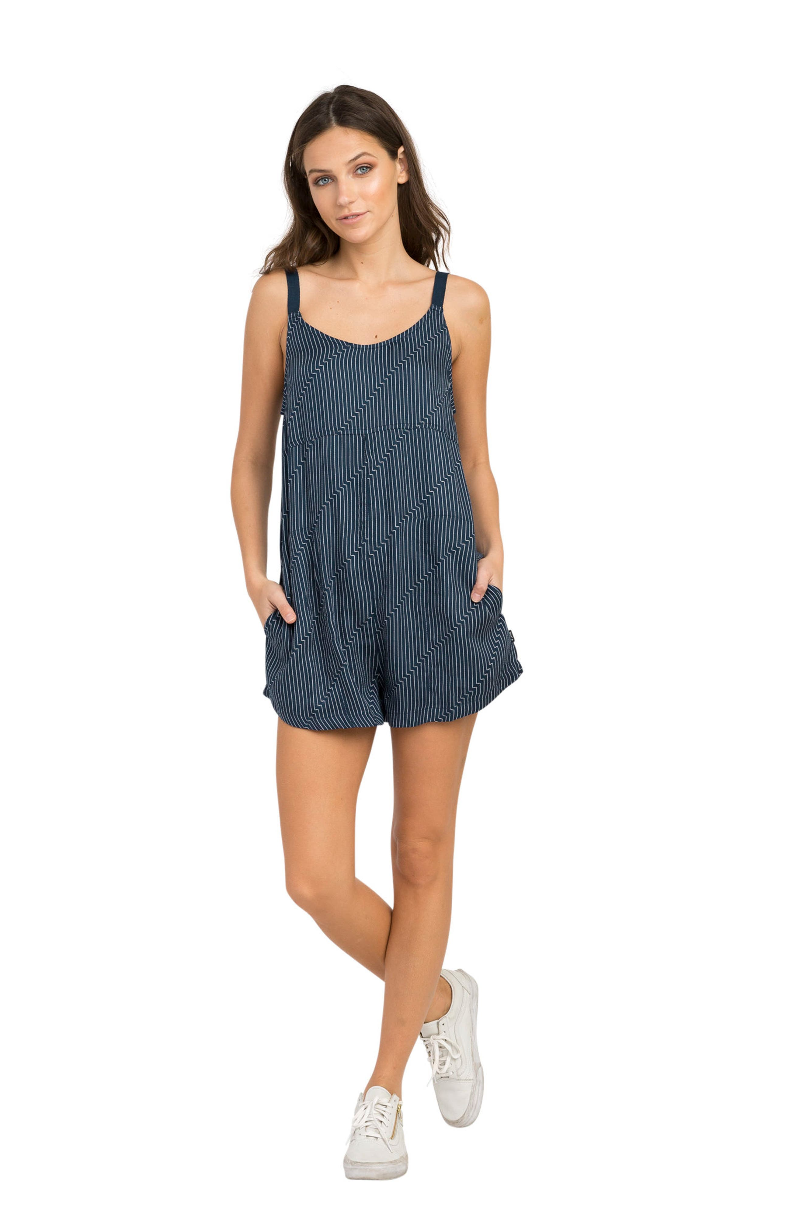Jury's Out Zigzag Romper,                             Alternate thumbnail 4, color,                             Navy