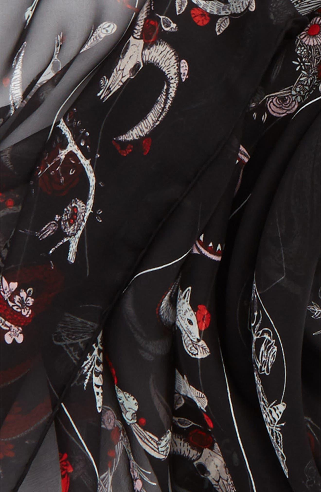 Cabinets Silk Chiffon Scarf,                             Alternate thumbnail 3, color,                             Black/ Ivory