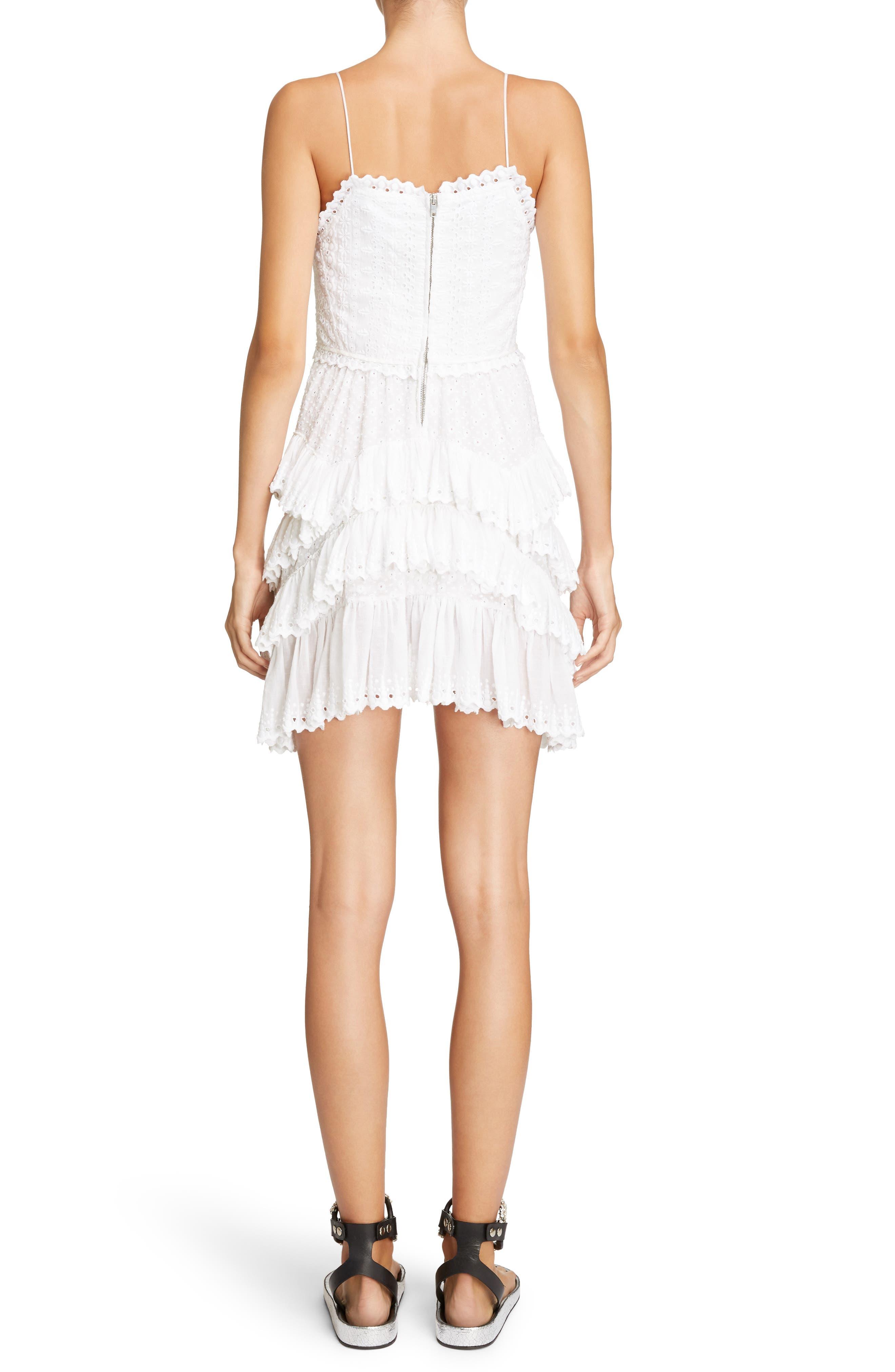 Ruffle Skirt Broderie Anglaise Dress,                             Alternate thumbnail 2, color,                             White