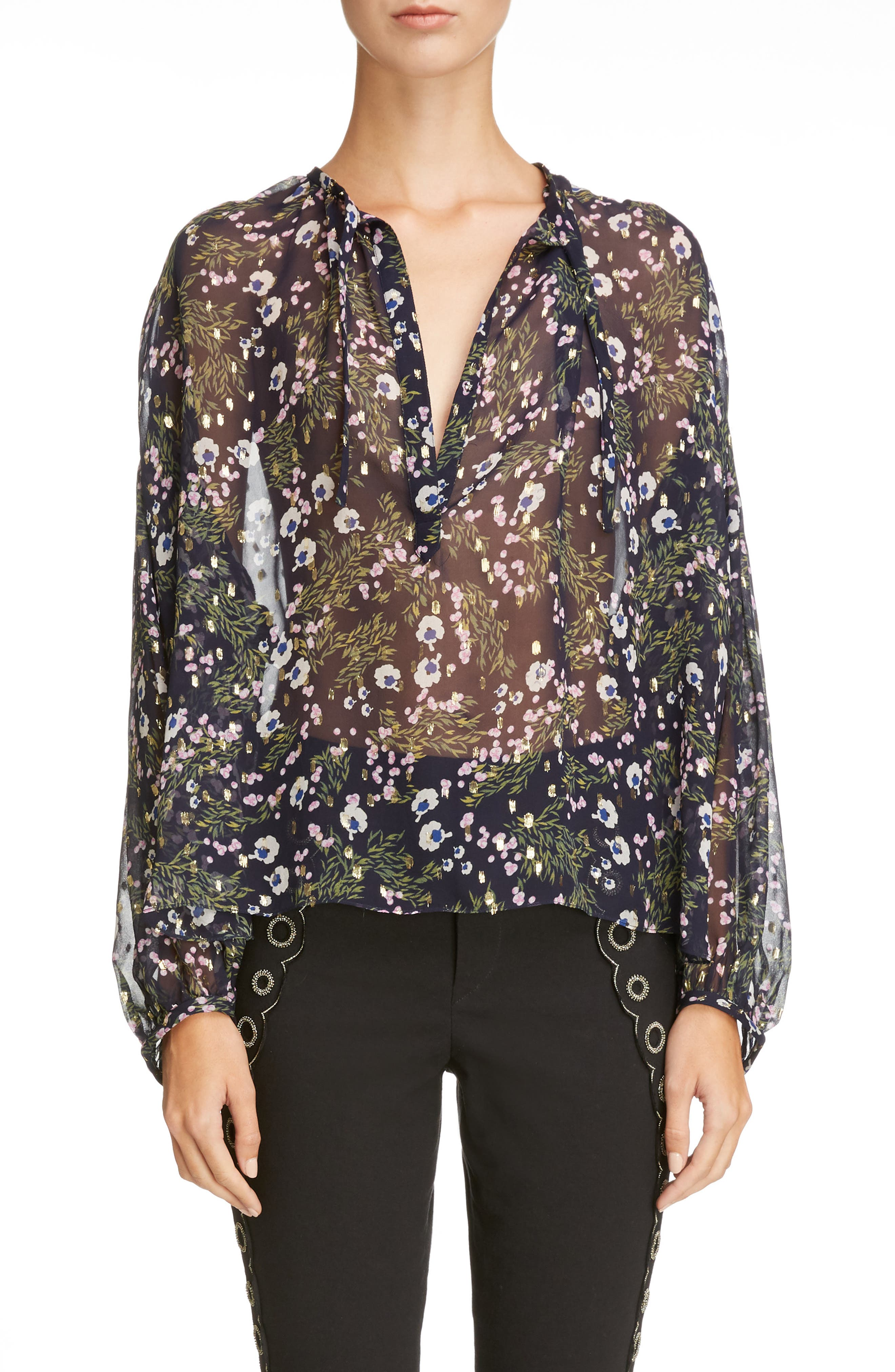 Isabel Marant Metallic Floral Print Silk Blend Blouse