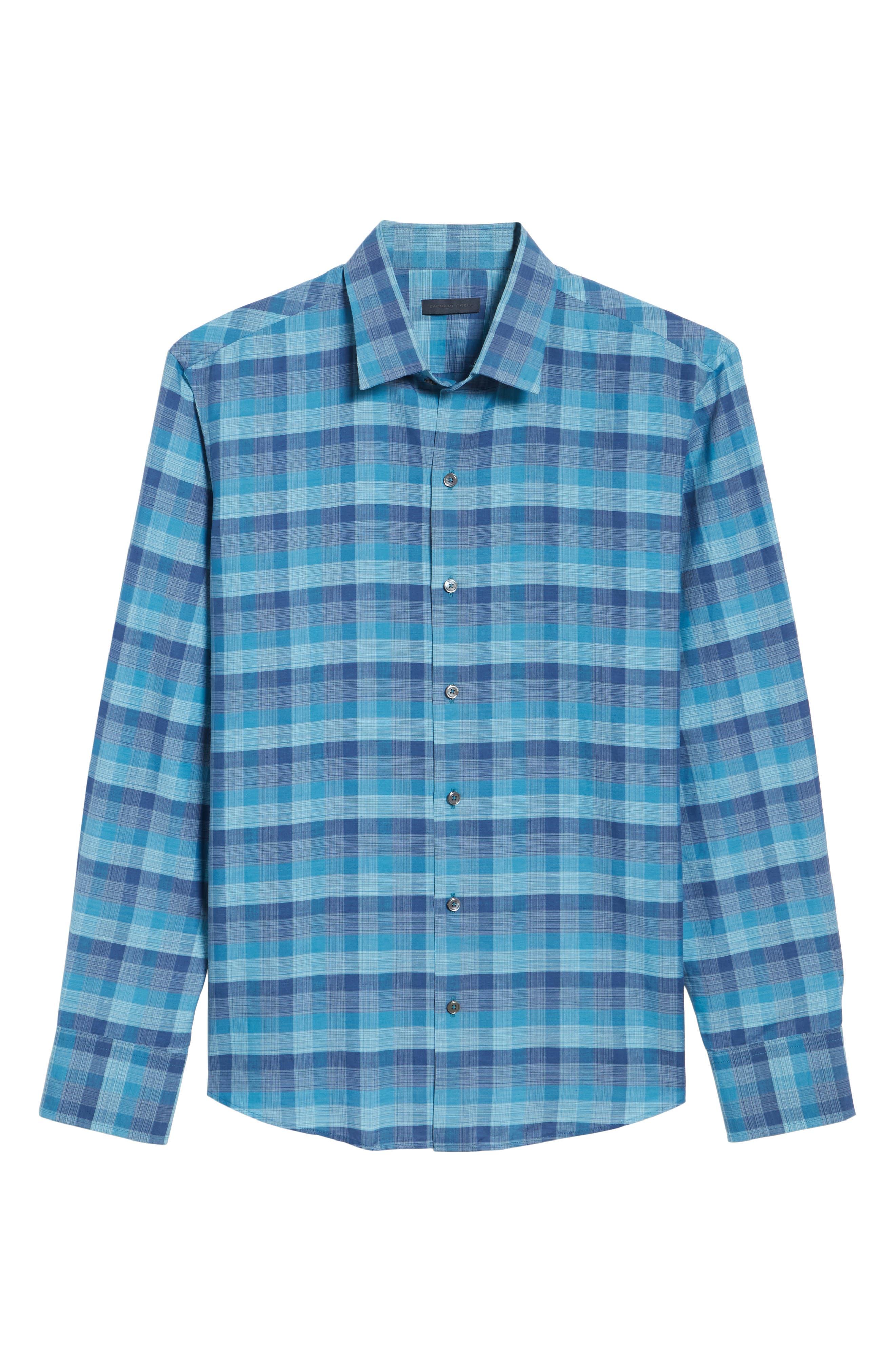 Maverick Plaid Linen Blend Sport Shirt,                             Alternate thumbnail 6, color,                             Teal
