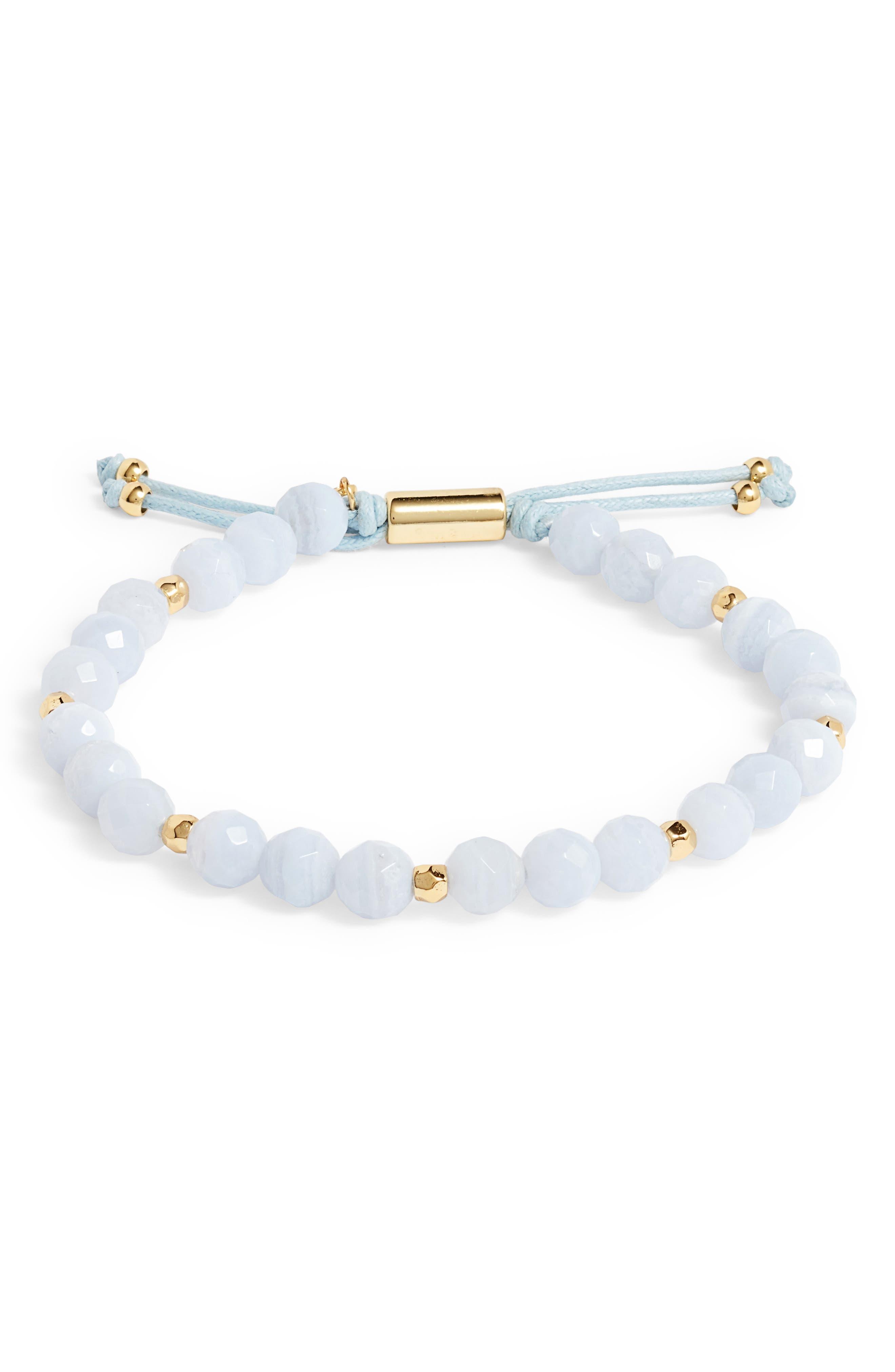 Power Gemstone Beaded Bracelet,                             Main thumbnail 1, color,                             Blue Lace Agate/ Gold
