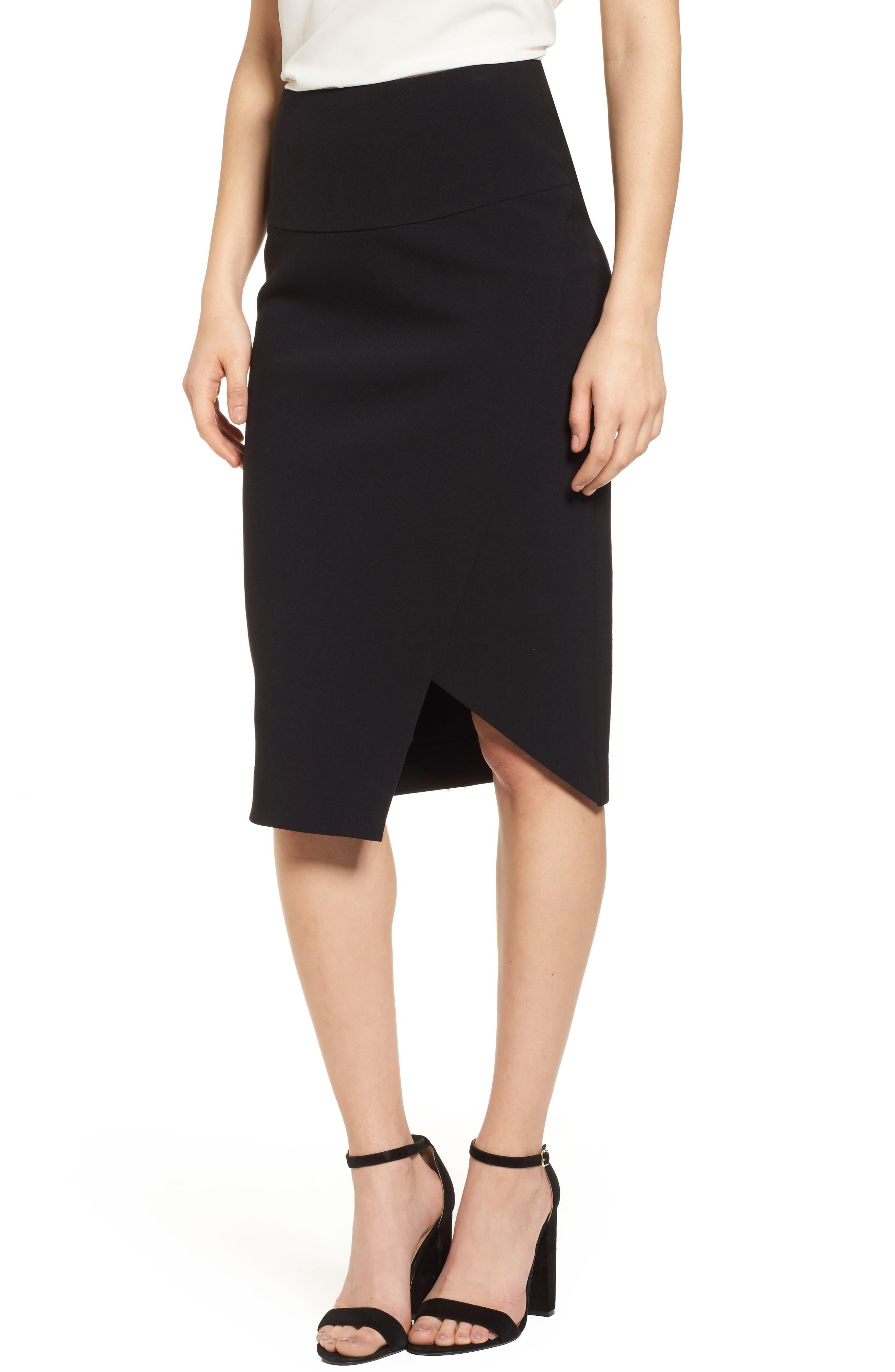 Asymmetrical Pencil Skirt,                             Main thumbnail 1, color,                             Black