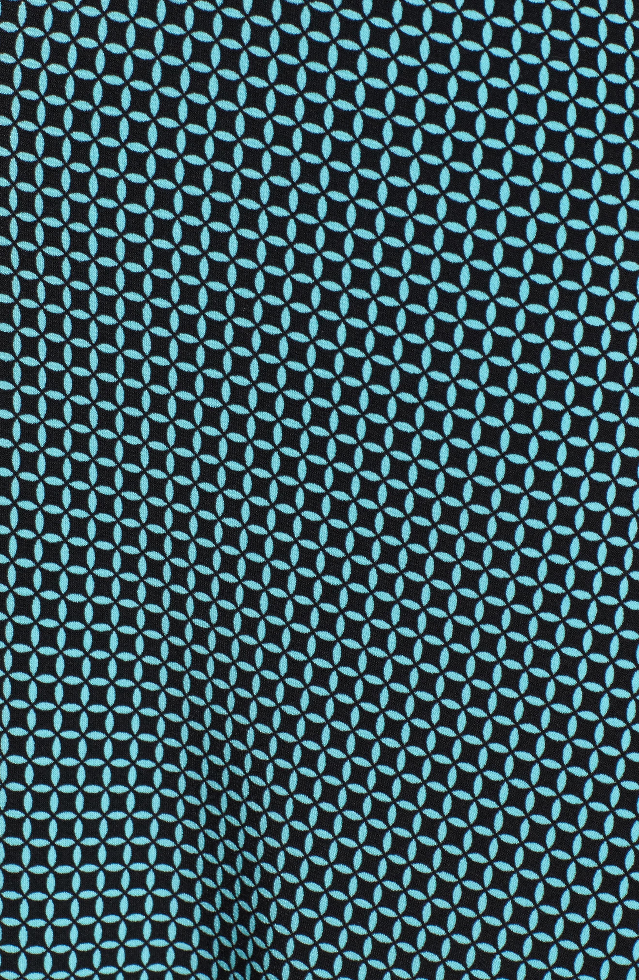 Mod Geo Fit & Flare Dress,                             Alternate thumbnail 5, color,                             Turquoise/ Black