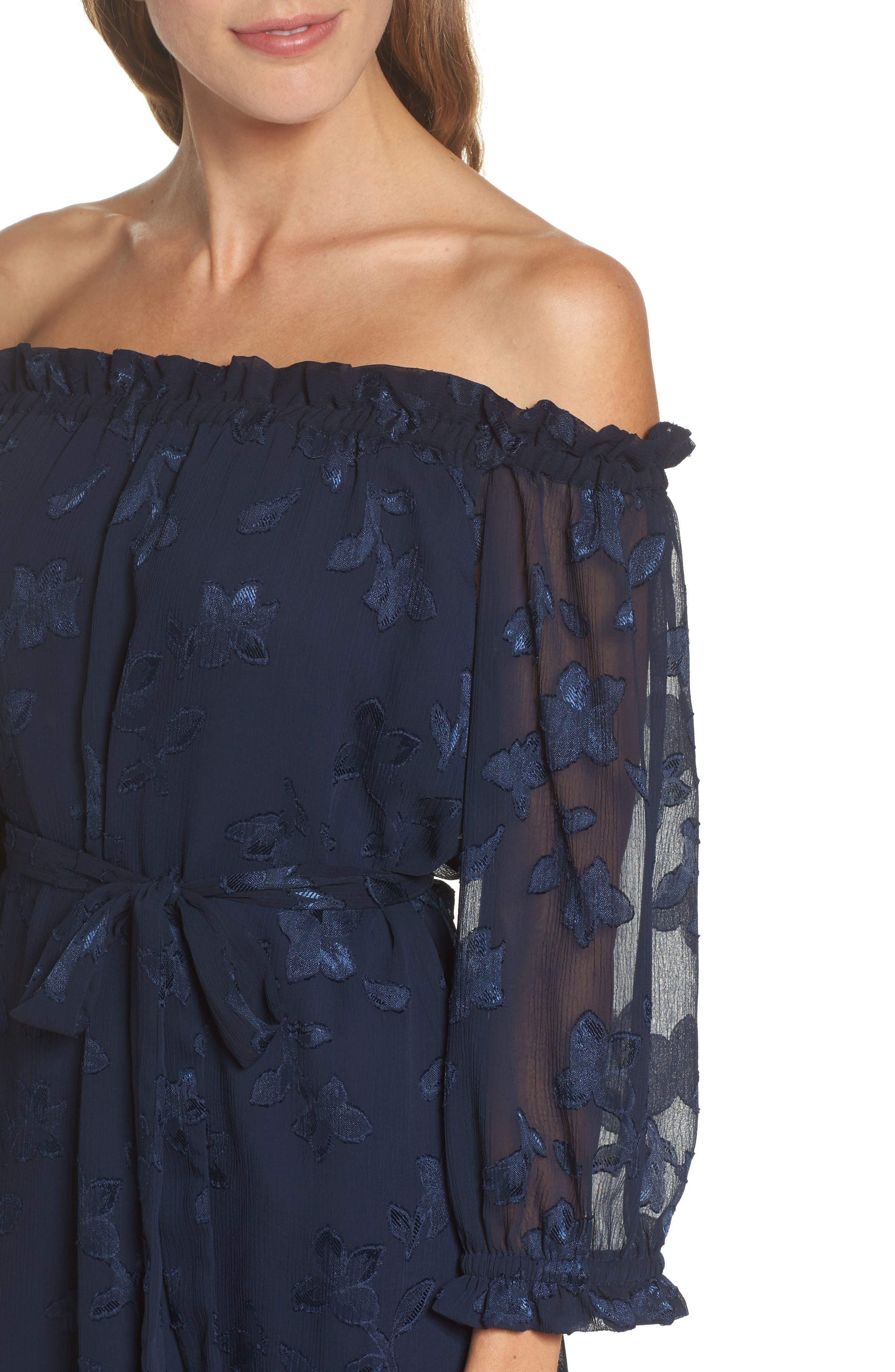 Off the Shoulder Lace Dress,                             Alternate thumbnail 4, color,                             Navy