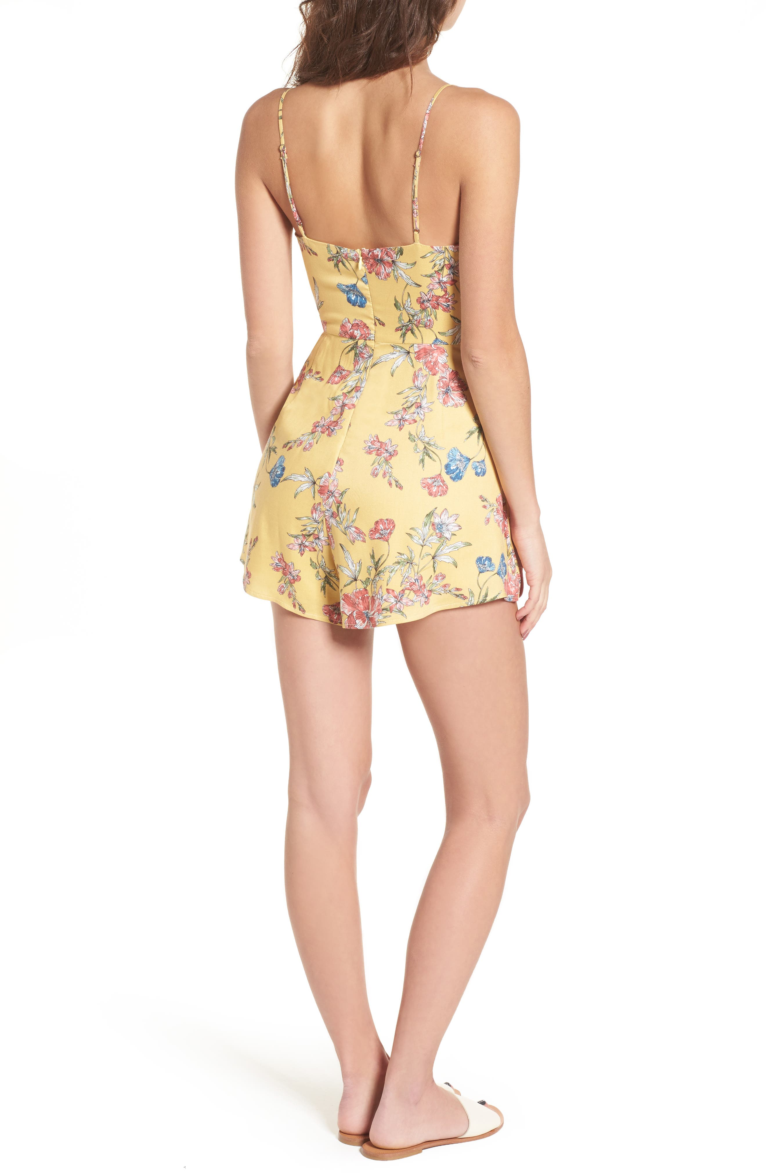 Double Tie Front Romper,                             Alternate thumbnail 2, color,                             Mustard Wine Floral