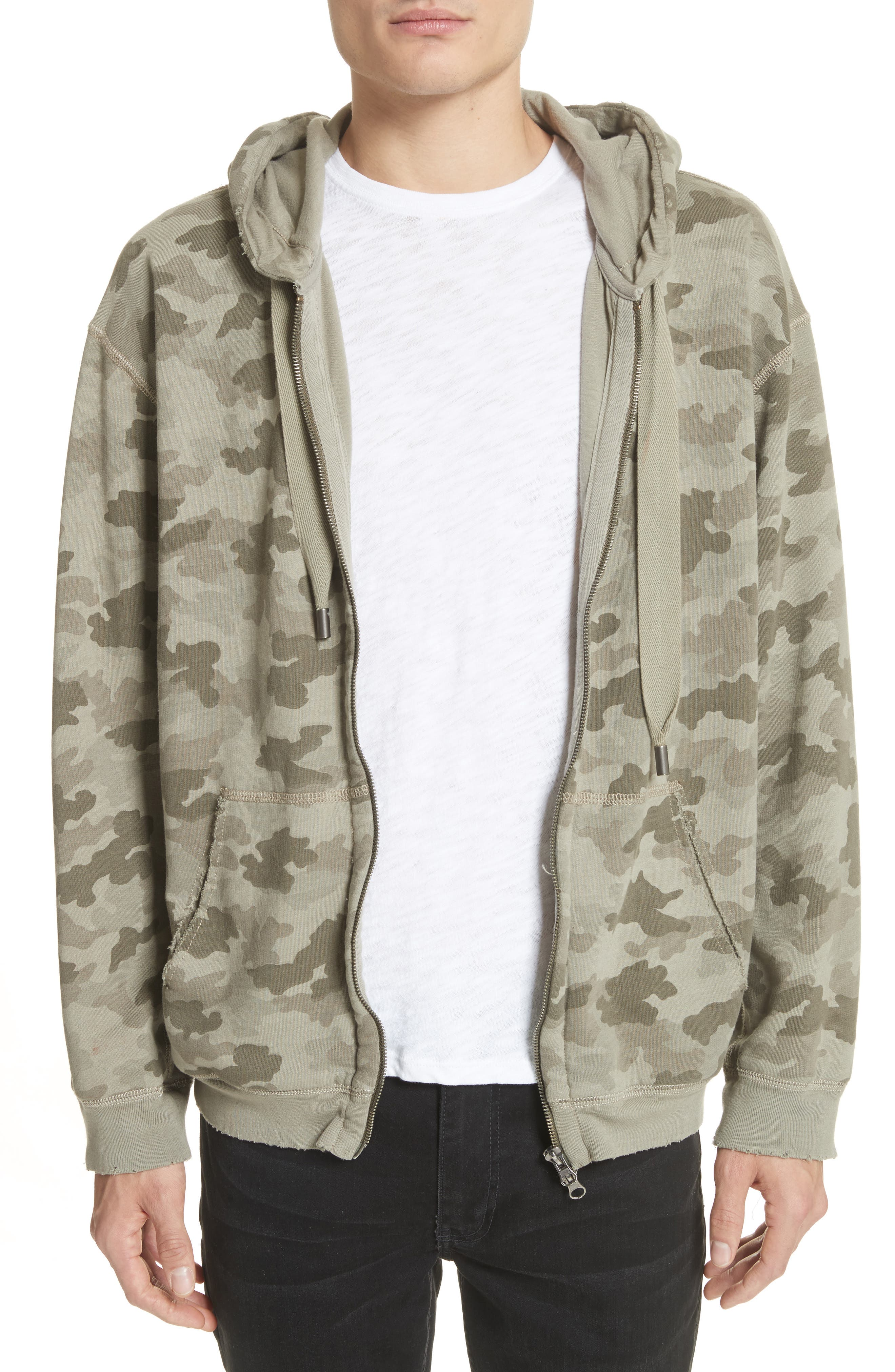 Camo French Terry Zip Hoodie,                         Main,                         color, Sage Camo