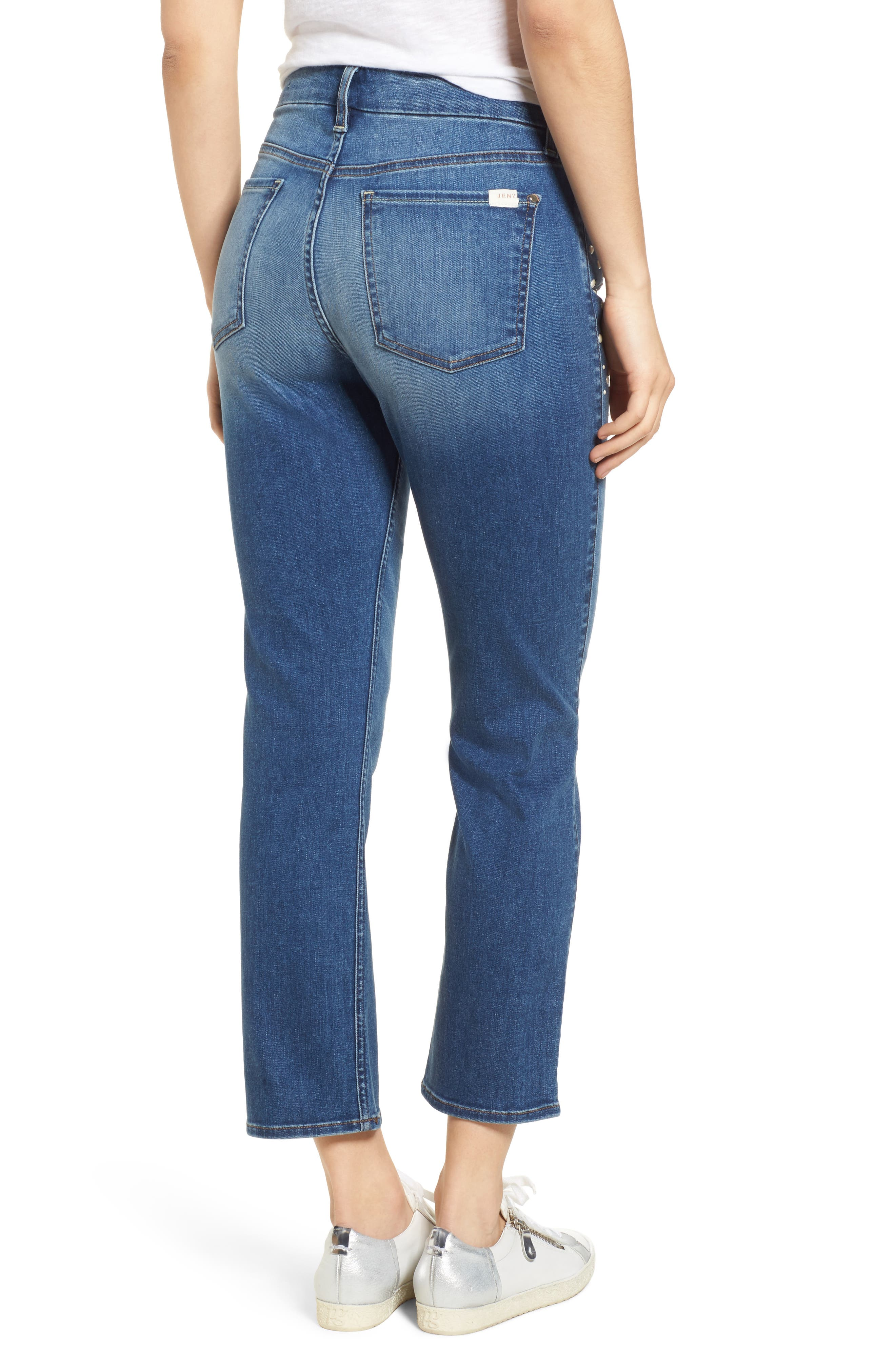 Pearl Embellished Crop Straight Leg Jeans,                             Alternate thumbnail 2, color,                             Garden City