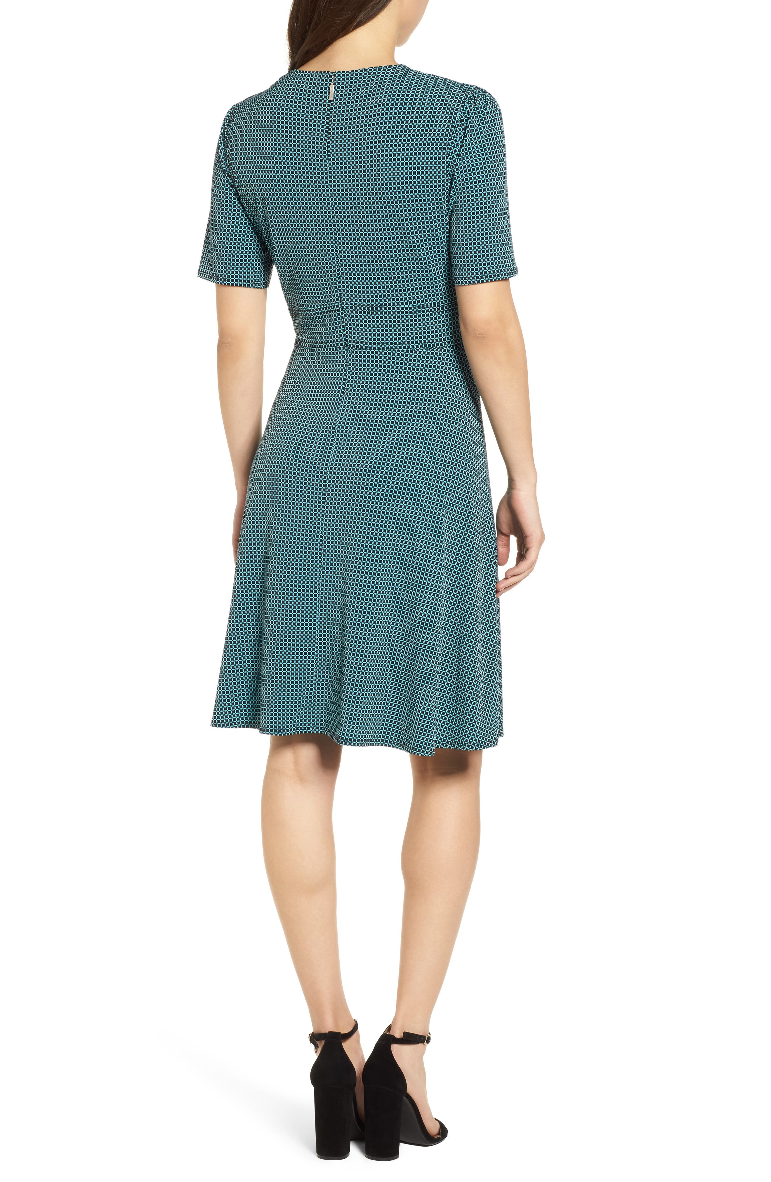 Mod Geo Fit & Flare Dress,                             Alternate thumbnail 2, color,                             Turquoise/ Black