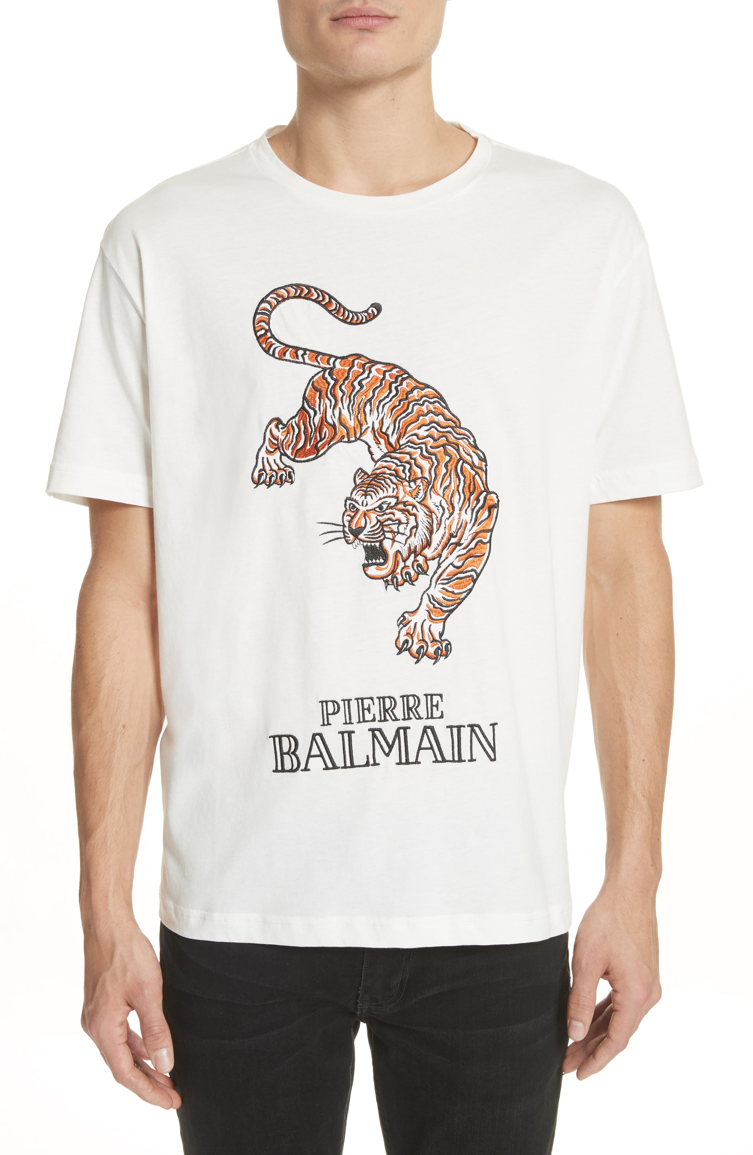 Embroidered Tiger T-Shirt,                         Main,                         color, Off White