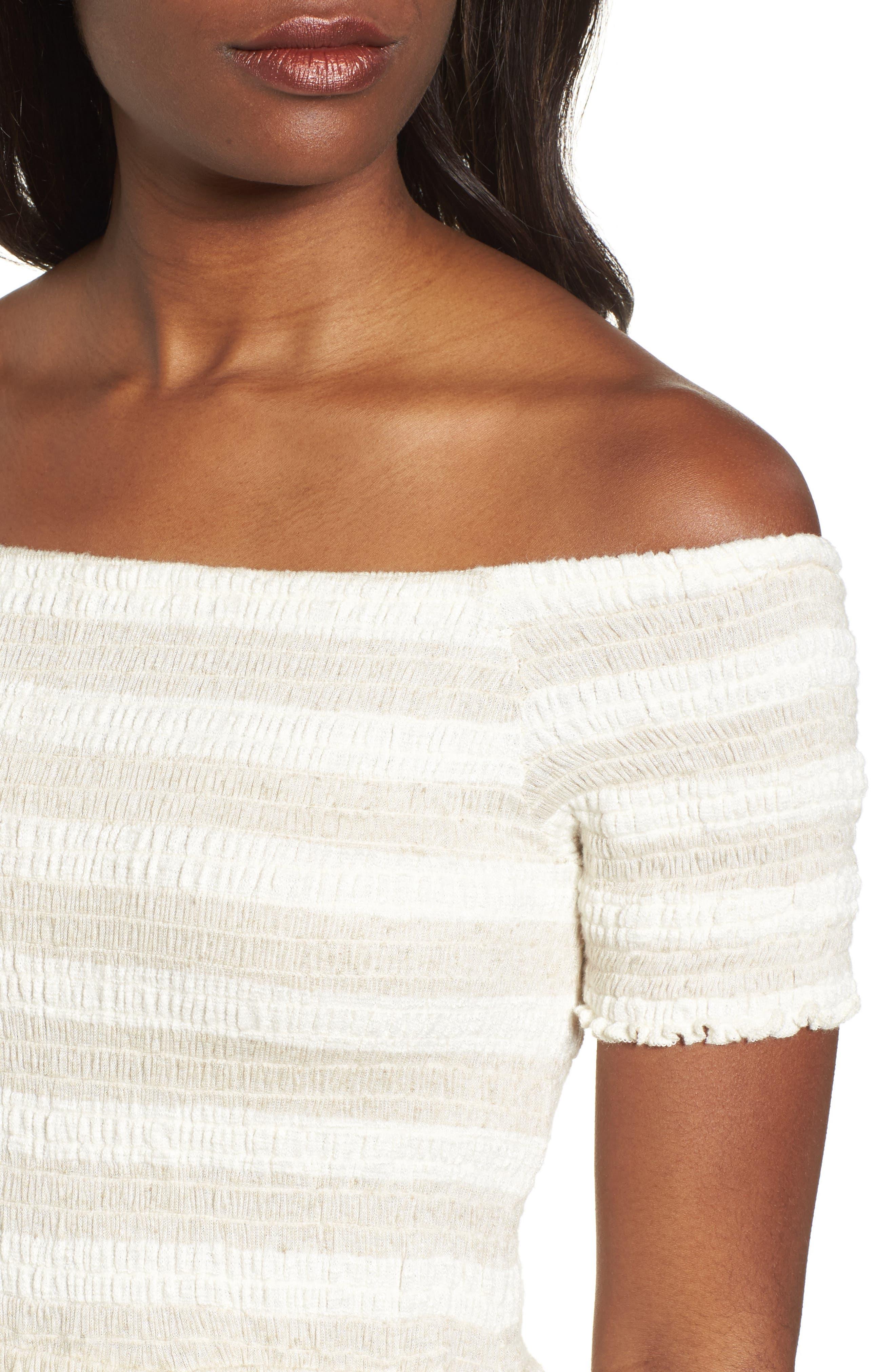 Stripe Smocked Midi Dress,                             Alternate thumbnail 4, color,                             Natural Multi