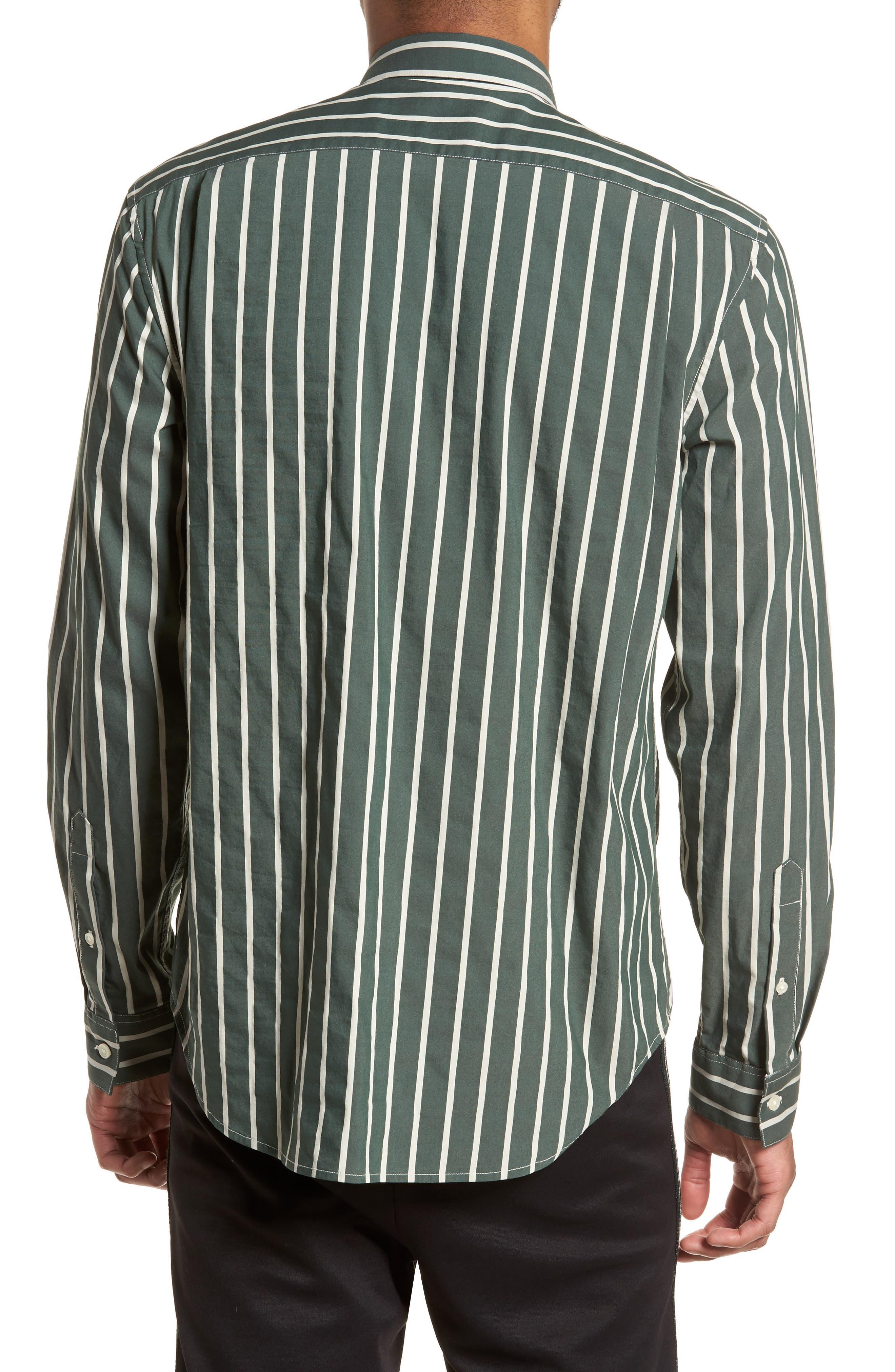 Column Stripe Sport Shirt,                             Alternate thumbnail 2, color,                             Deep Forest