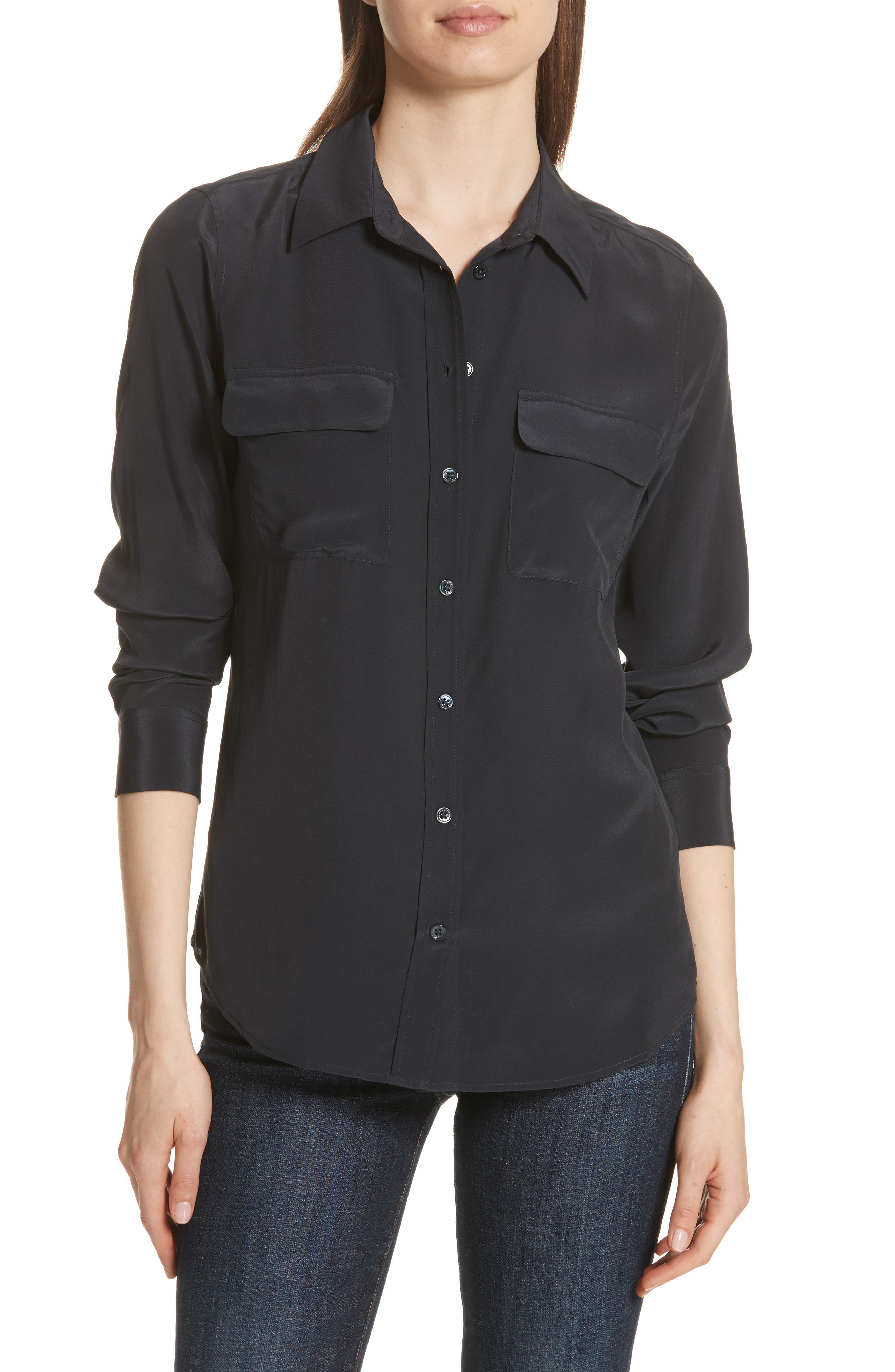 Slim Signature Silk Shirt,                             Main thumbnail 1, color,                             Eclipse