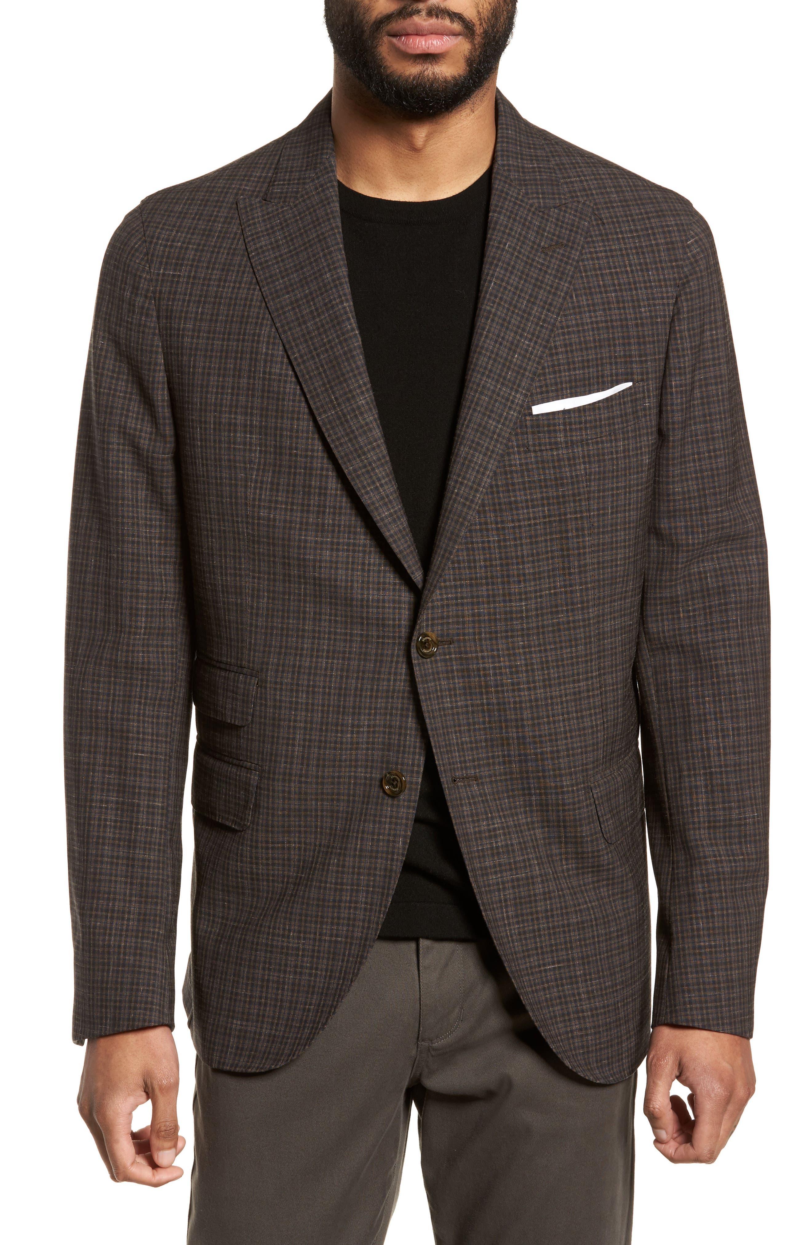 Alternate Image 1 Selected - Eleventy Trim Fit Check Wool & Linen Sport Coat
