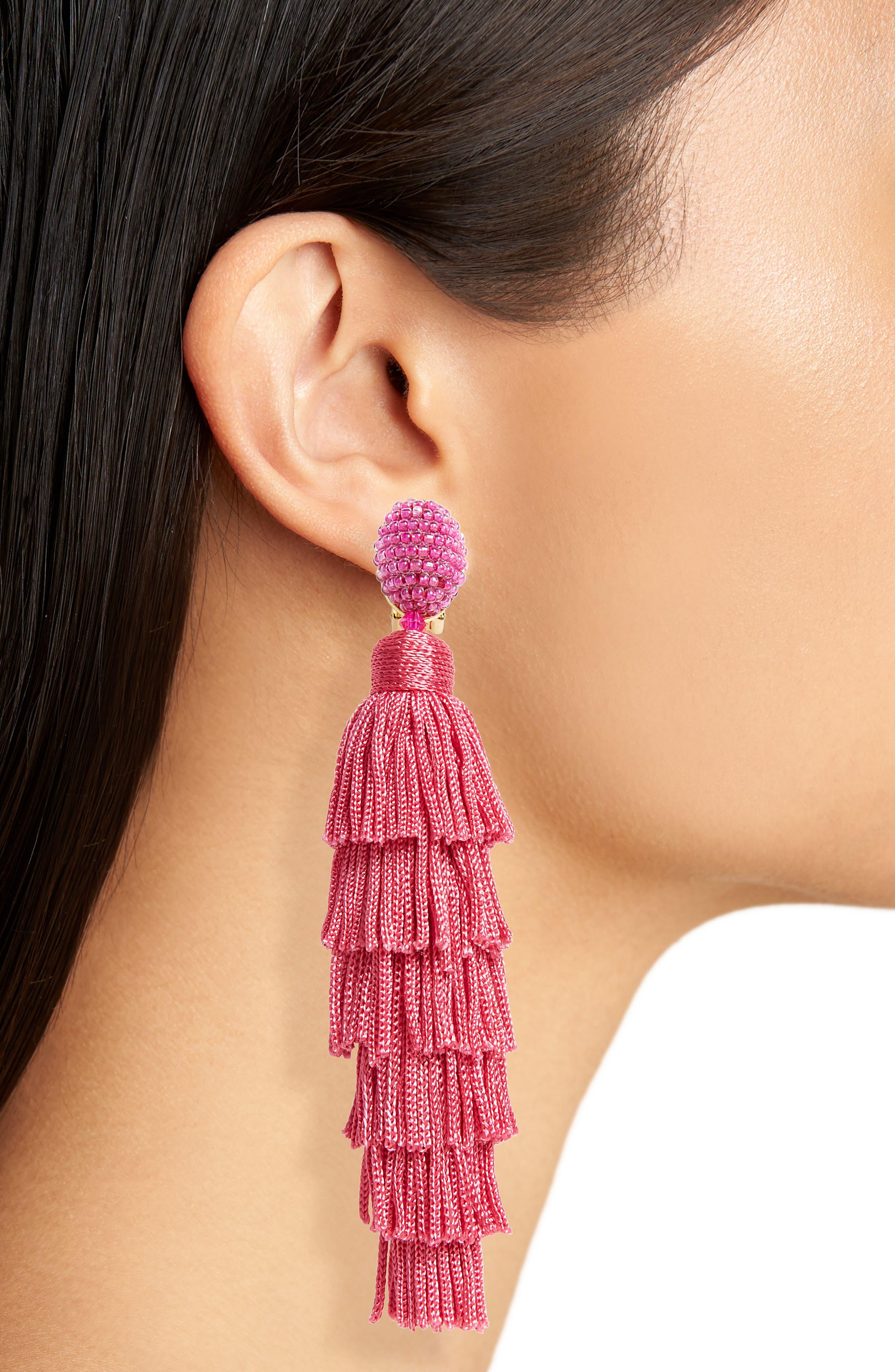 Tassel Clip Earrings,                             Alternate thumbnail 2, color,                             Spinel