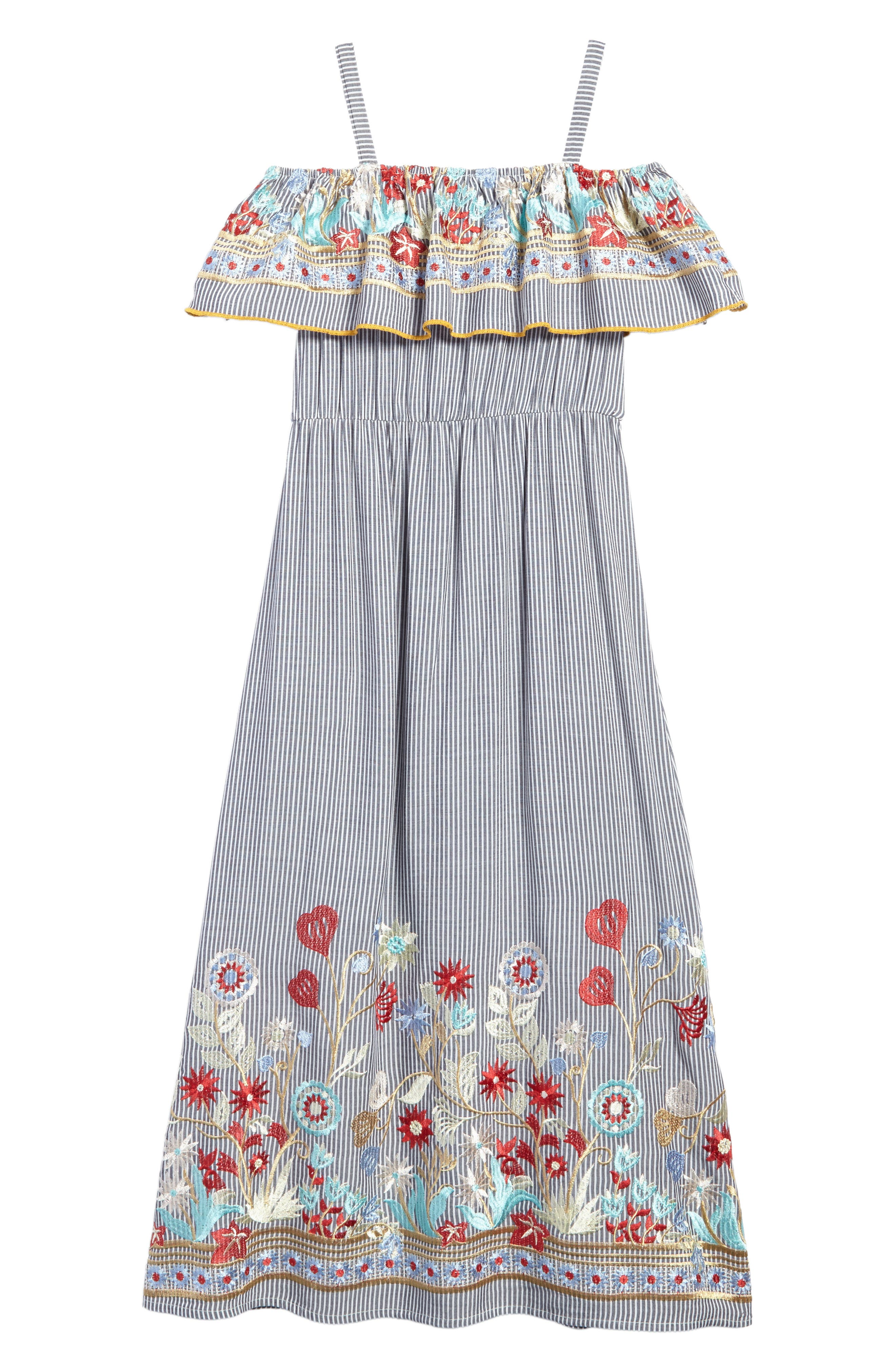 Flower Embroidered Maxi Dress,                             Alternate thumbnail 2, color,                             Gray/ Ivory