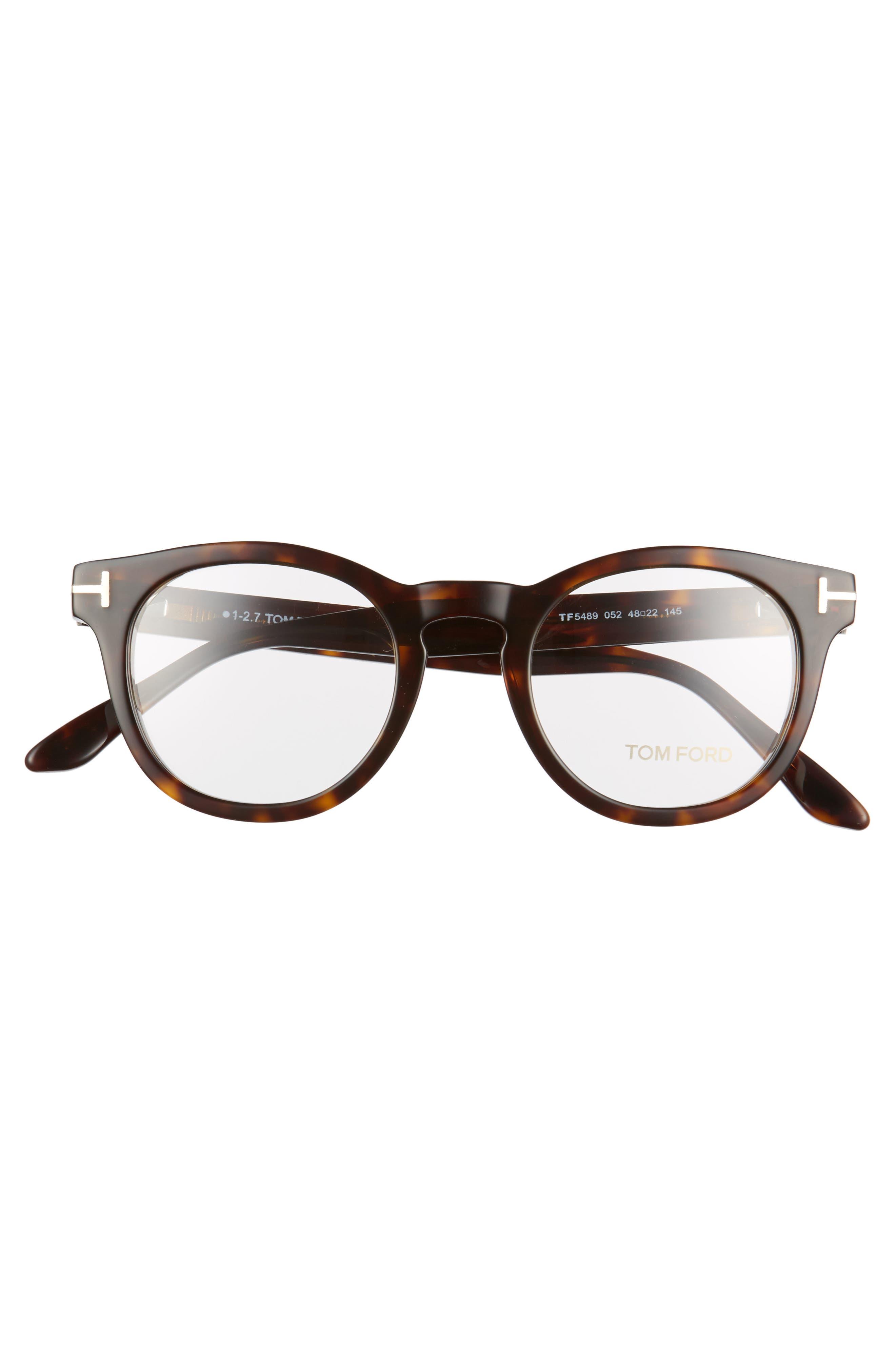 48mm Round Optical Glasses,                             Alternate thumbnail 3, color,                             Classic Dark Havana