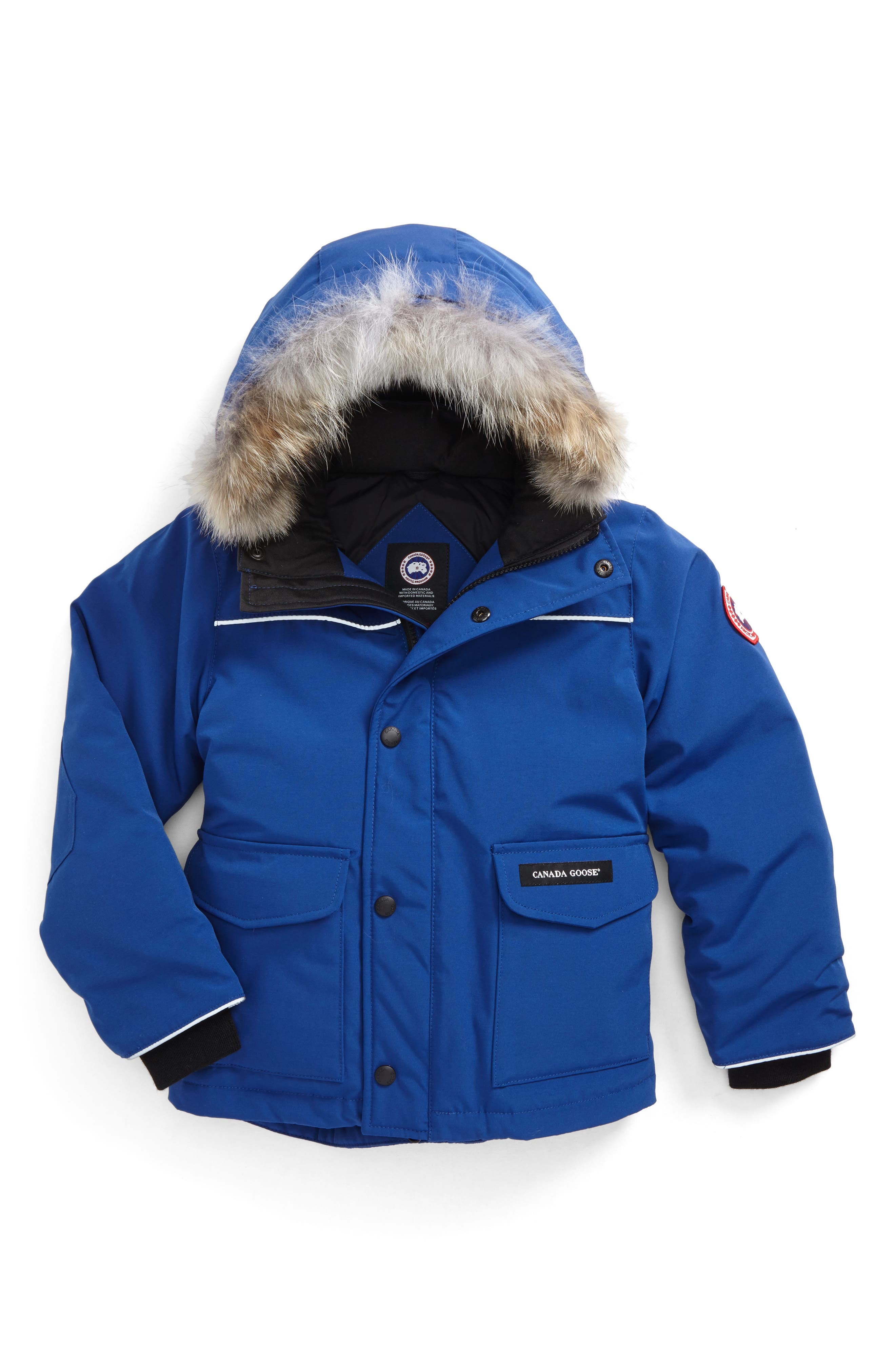 'Lynx' Down Parka with Genuine Coyote Fur Trim,                             Main thumbnail 1, color,                             Pacific Blue