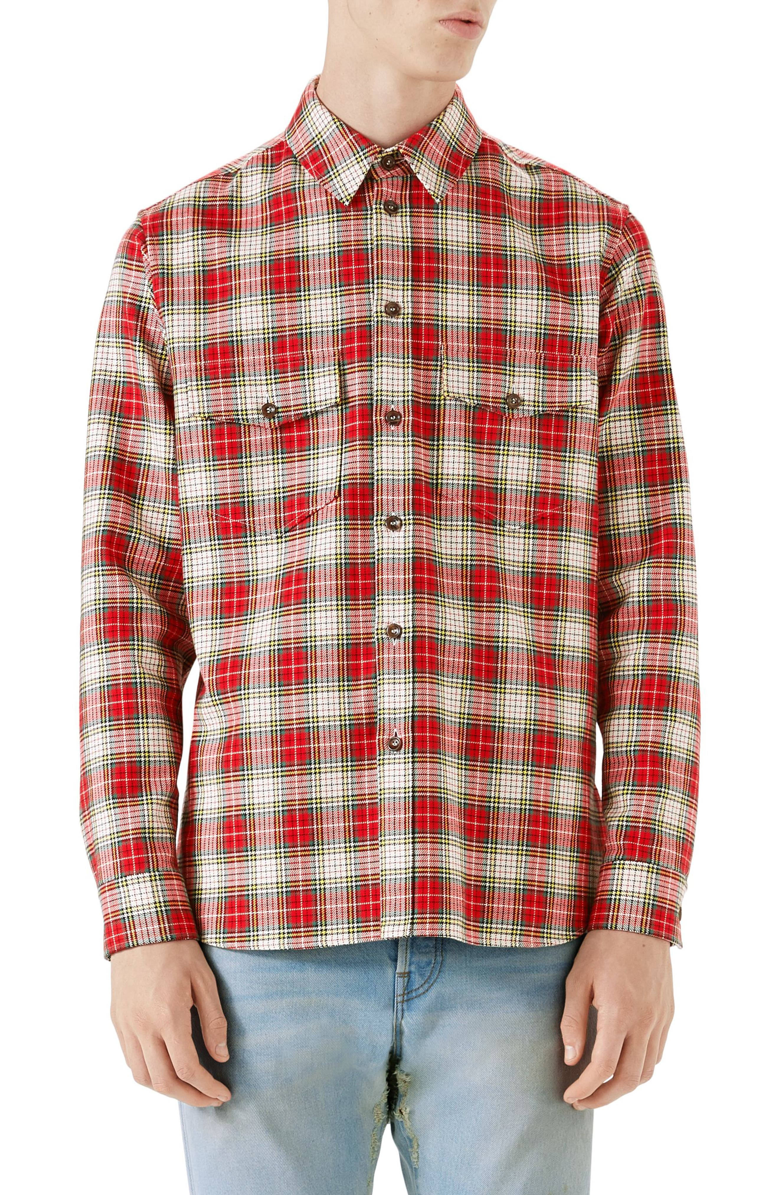 Alternate Image 1 Selected - Gucci Embroidered Snake Oversize Plaid Shirt