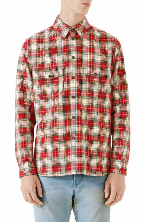 03bd4298596 Gucci Embroidered Snake Oversize Plaid Shirt