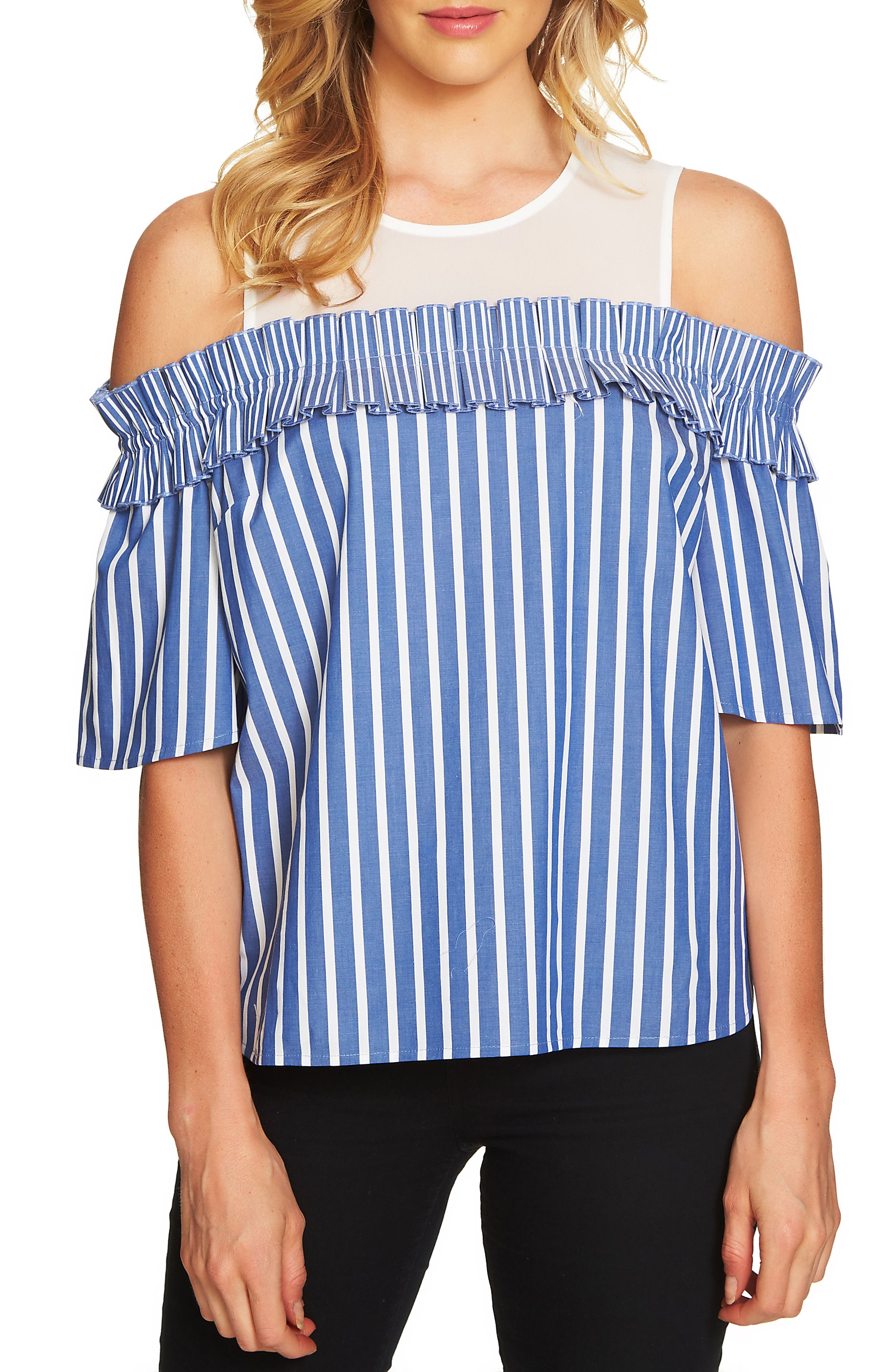 CeCe Chiffon Yoke Cold Shoulder Stripe Top