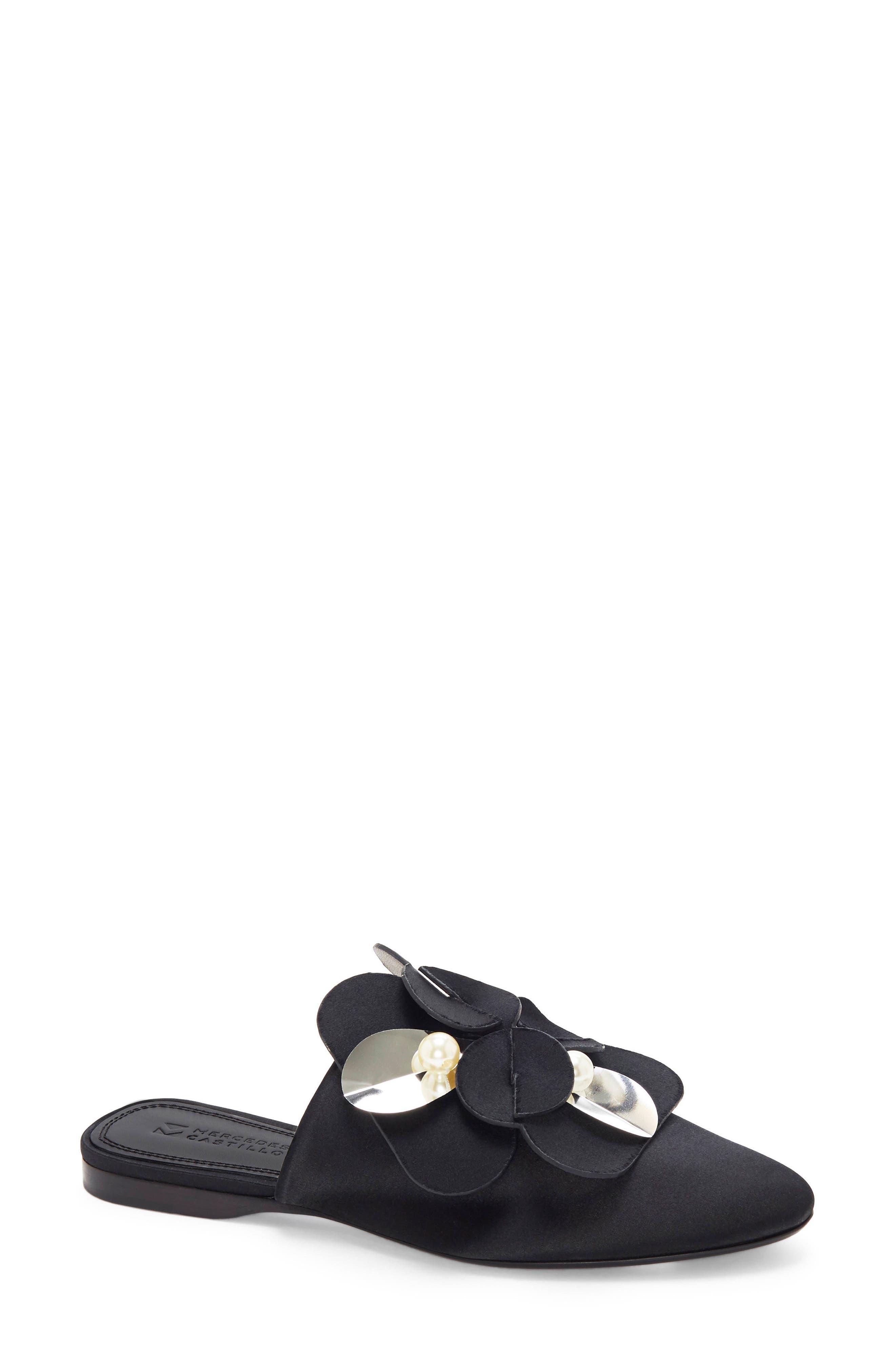 Corella Embellished Slide Sandal,                             Main thumbnail 1, color,                             Black