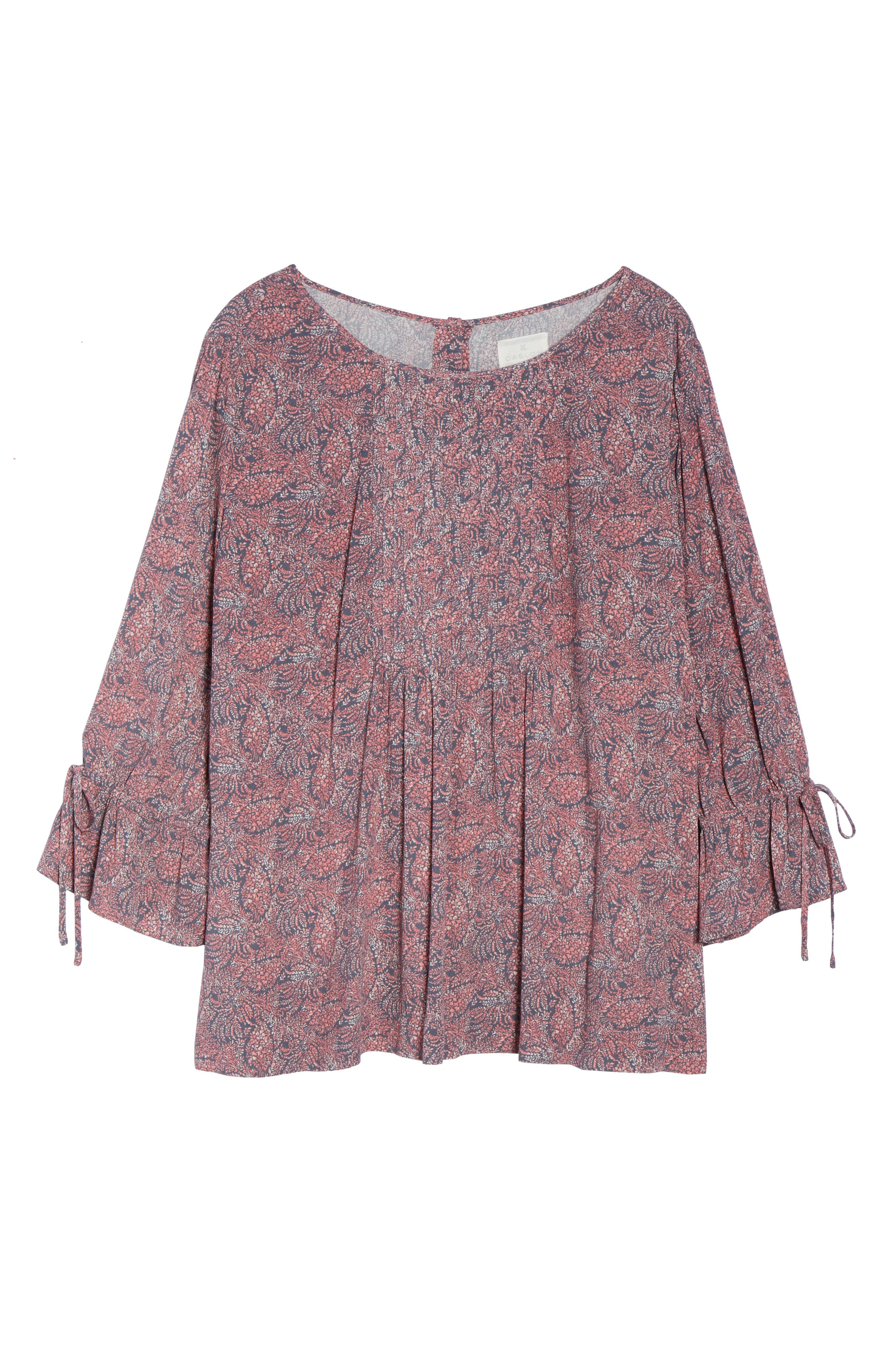 Tie Sleeve Print Top,                             Alternate thumbnail 6, color,                             Coral- Blue Blooming Floral