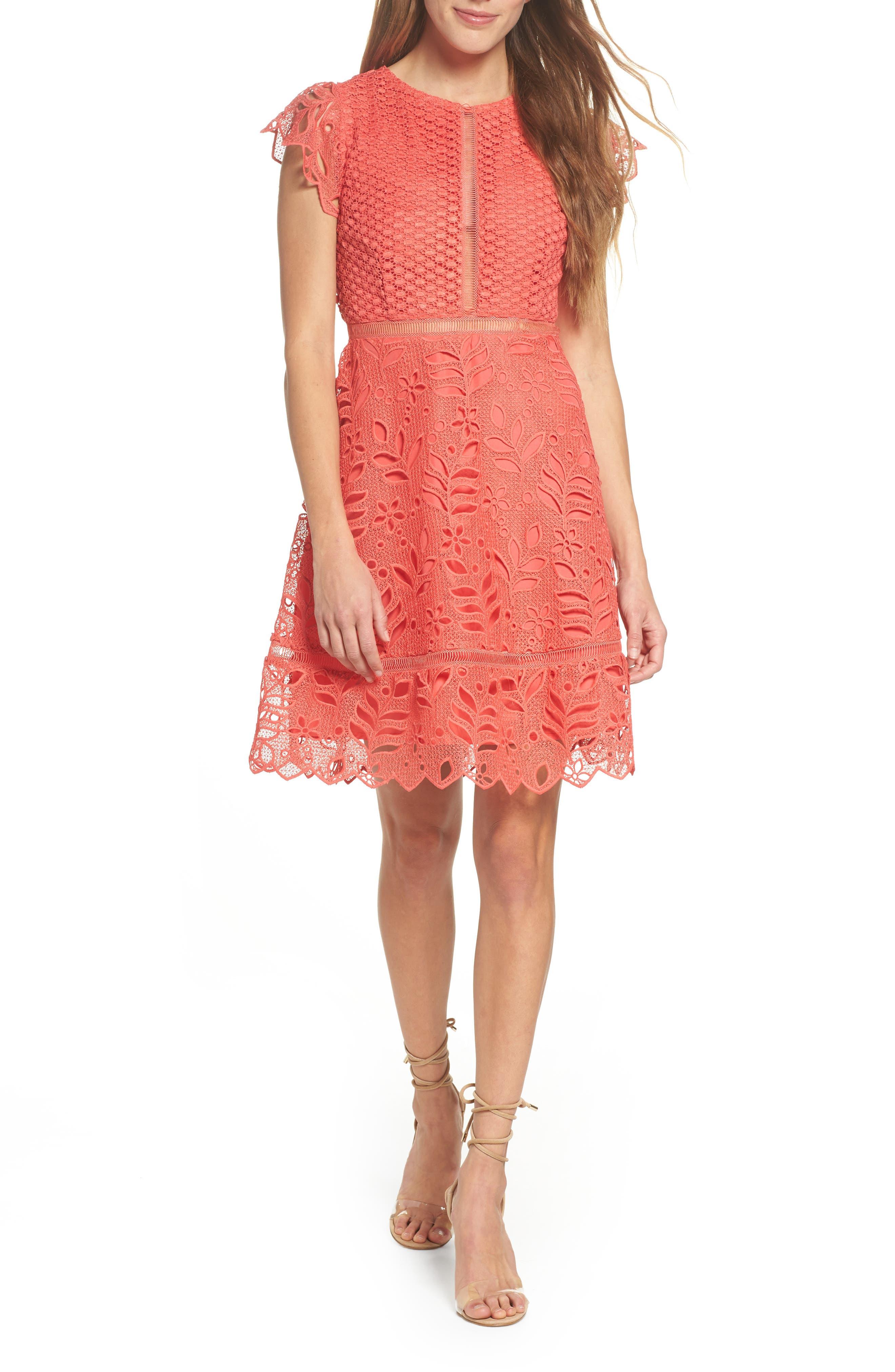 Ariane Mix Lace Dress,                             Main thumbnail 1, color,                             Cantaloupe