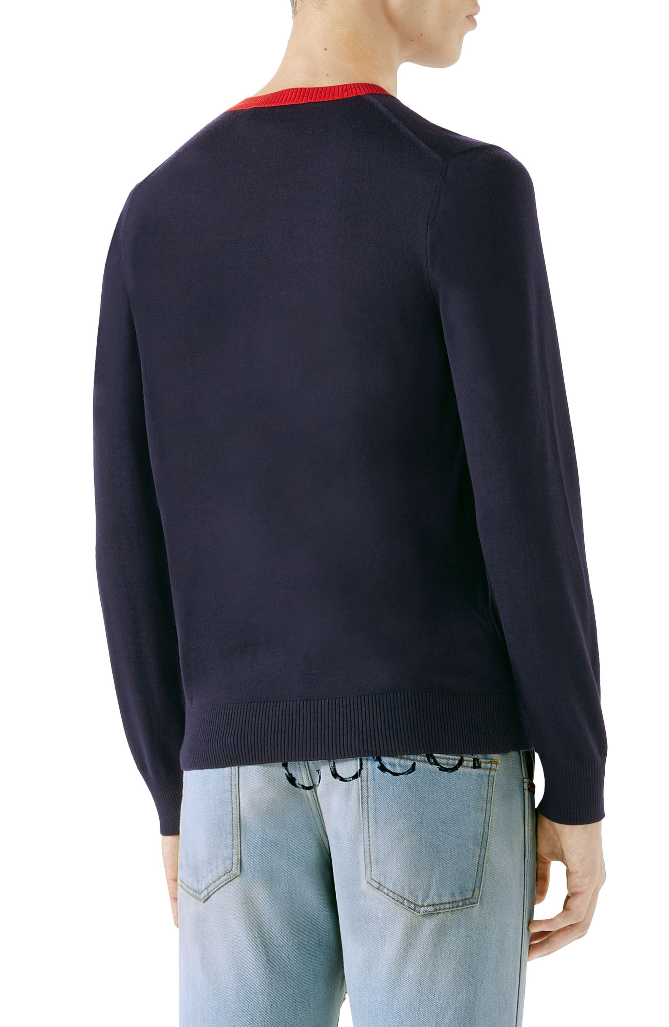 Bee Embroidered Wool Crewneck Sweater,                             Alternate thumbnail 2, color,                             Ink