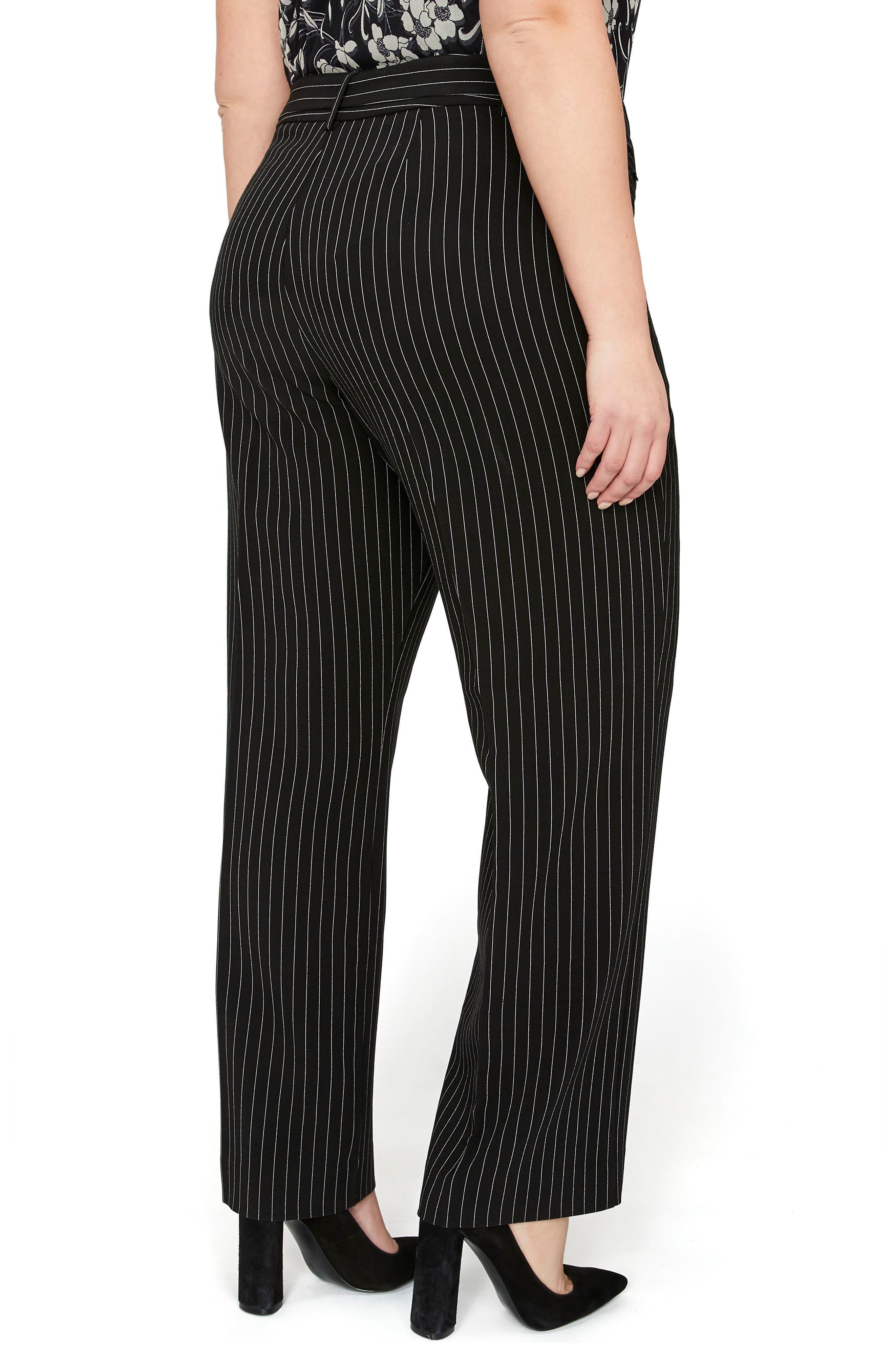 Pinstripe Straight Leg Pants,                             Alternate thumbnail 2, color,                             Pin Stripe Black Combo