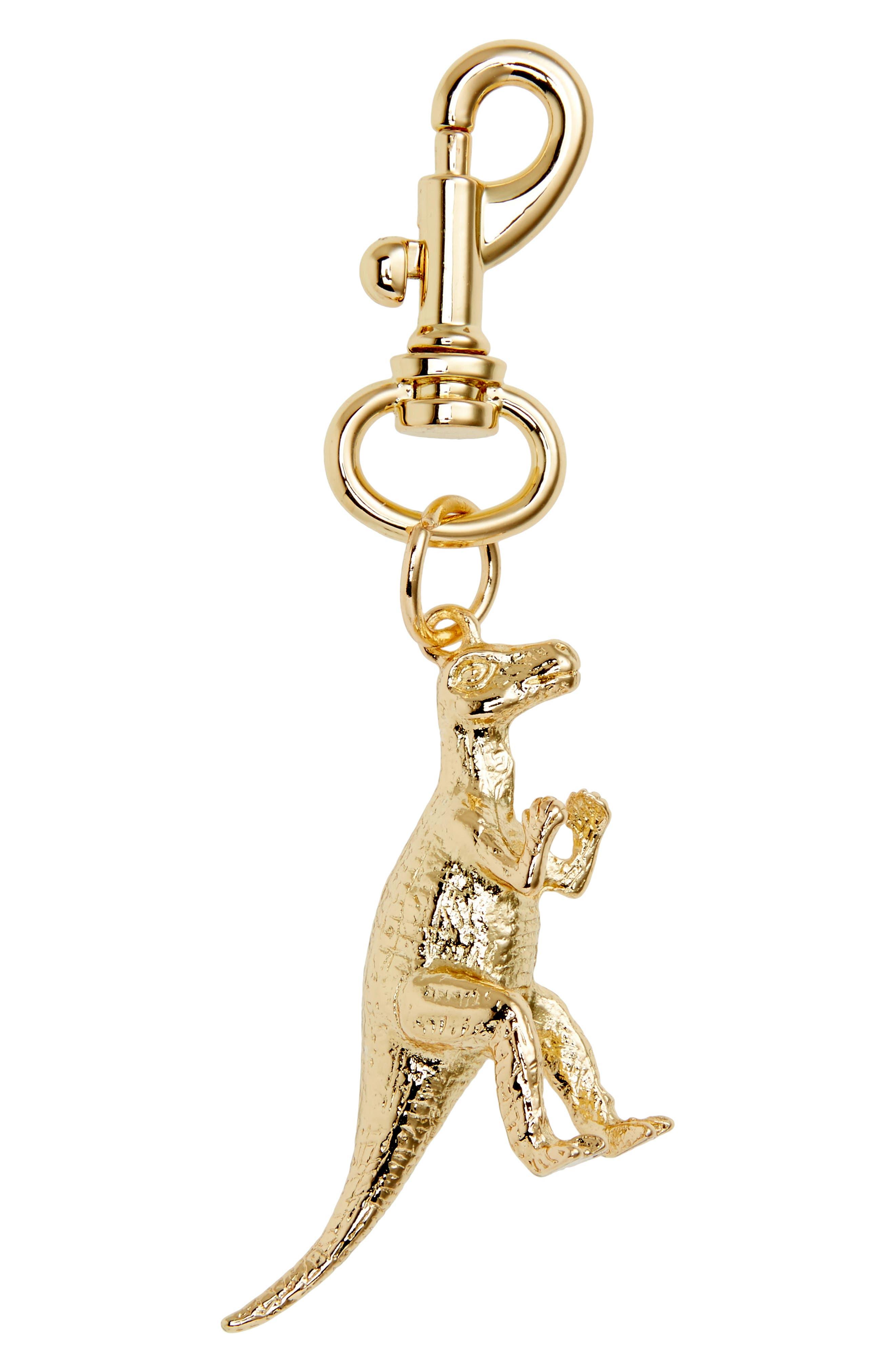 Dinosaur Metal Bag Charm,                         Main,                         color, Gold