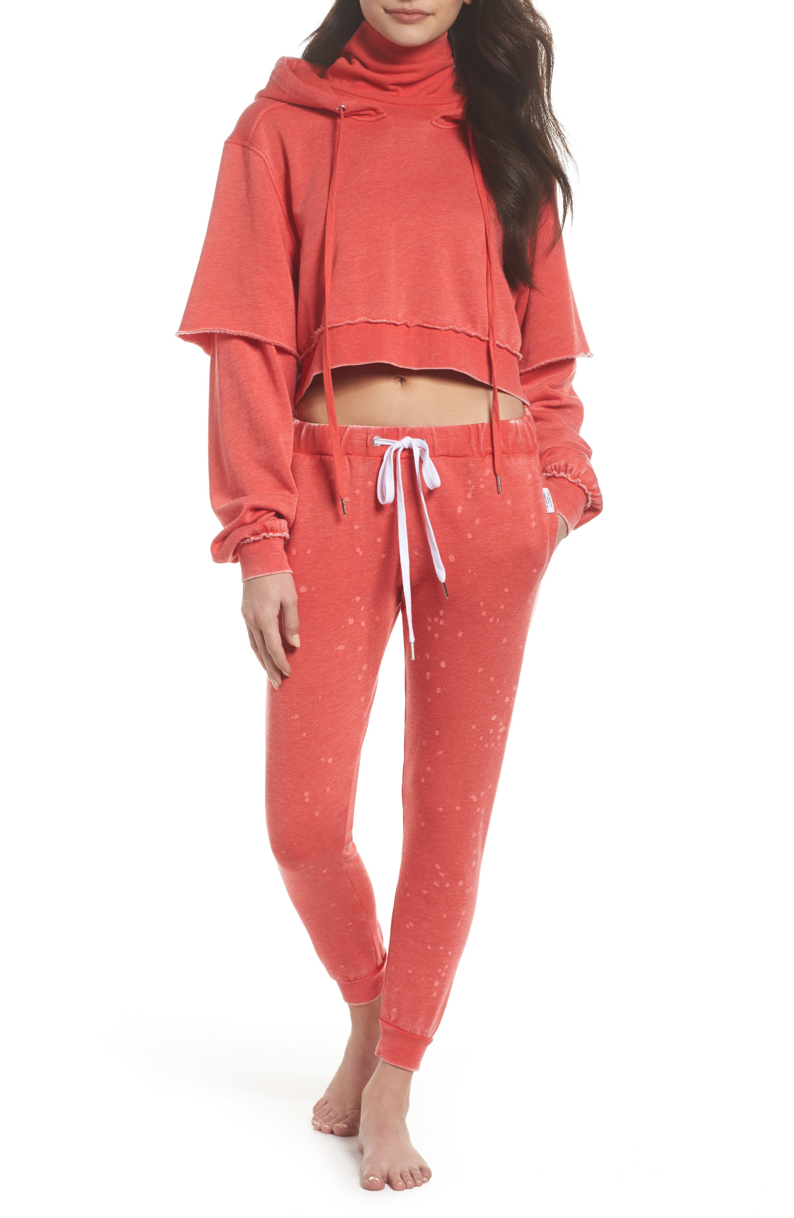 Good Hood Crop Hoodie,                             Alternate thumbnail 2, color,                             Love Red/ White