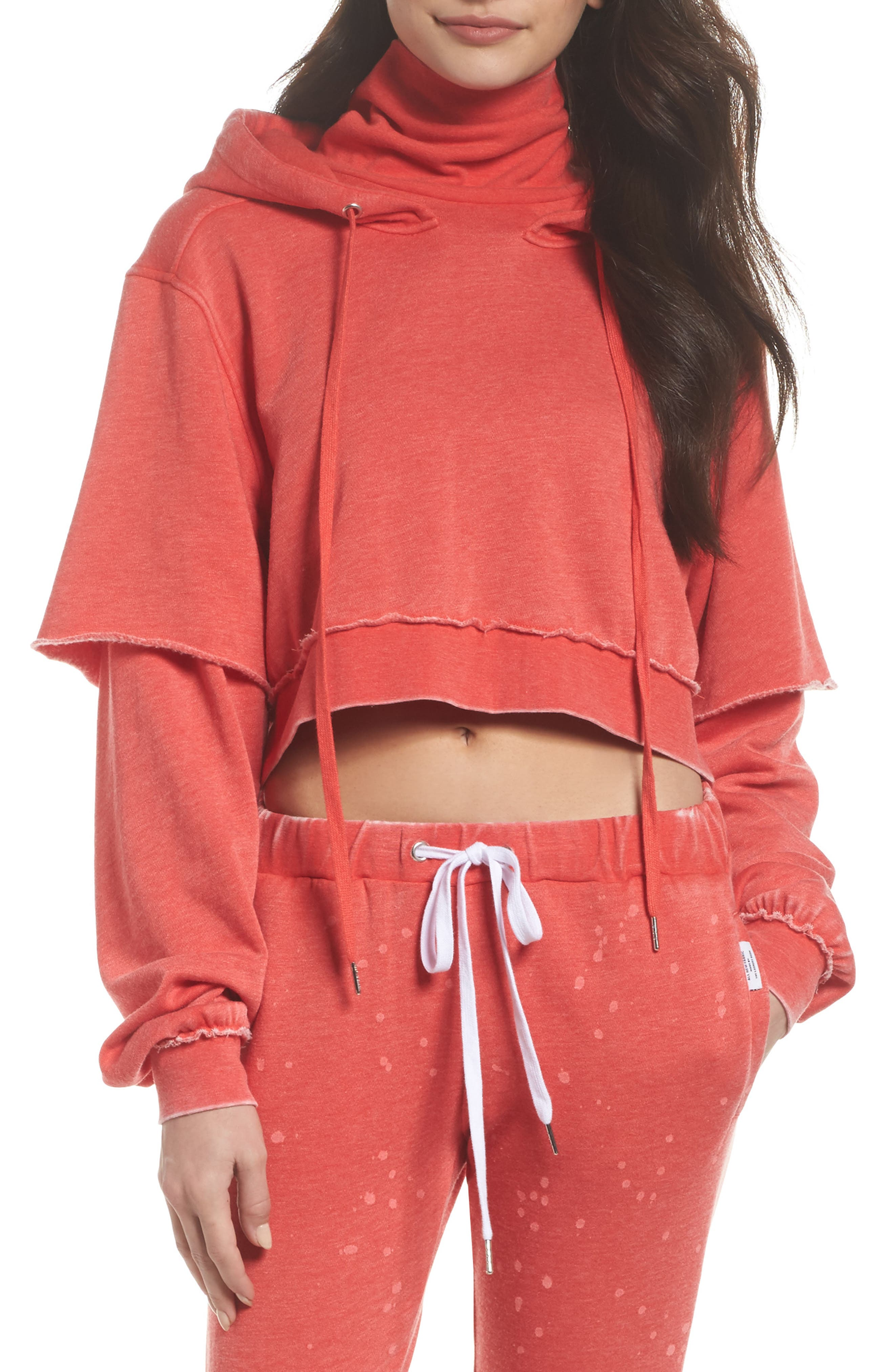 Good Hood Crop Hoodie,                             Main thumbnail 1, color,                             Love Red/ White