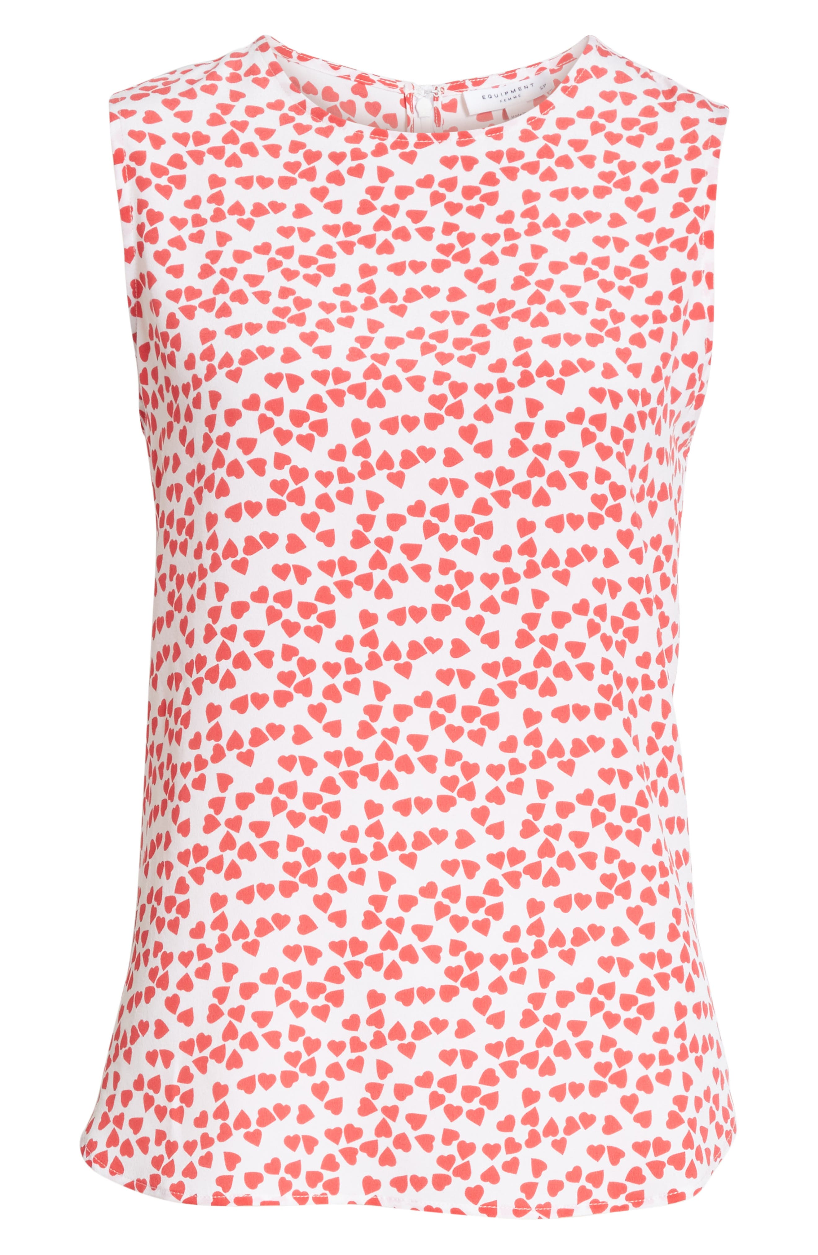 Lyle Print Silk Sleeveless Top,                             Alternate thumbnail 6, color,                             Bright White-Charged Pink