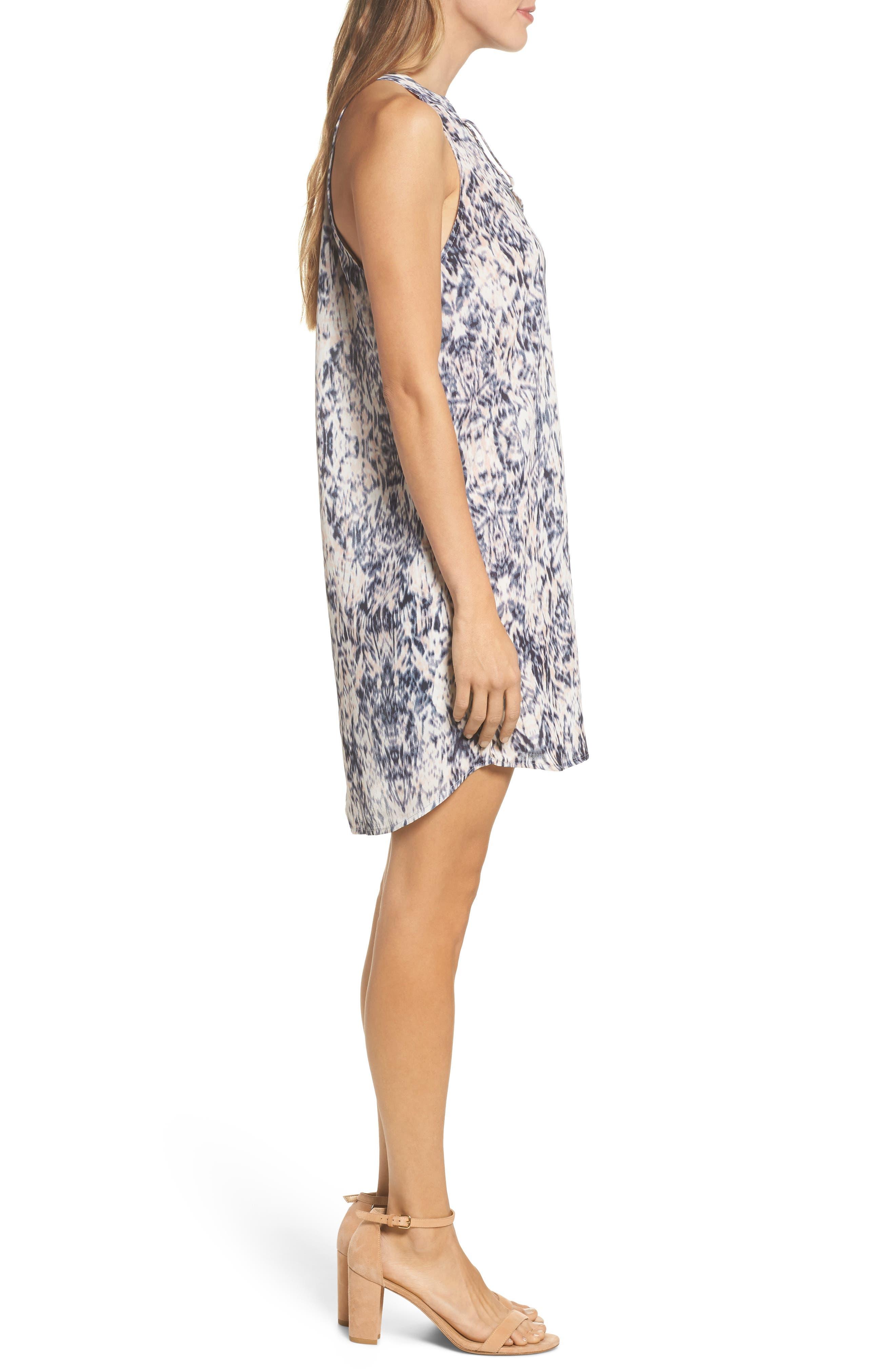 Tie Neck Sleeveless Dress,                             Alternate thumbnail 3, color,                             Blur Ikat