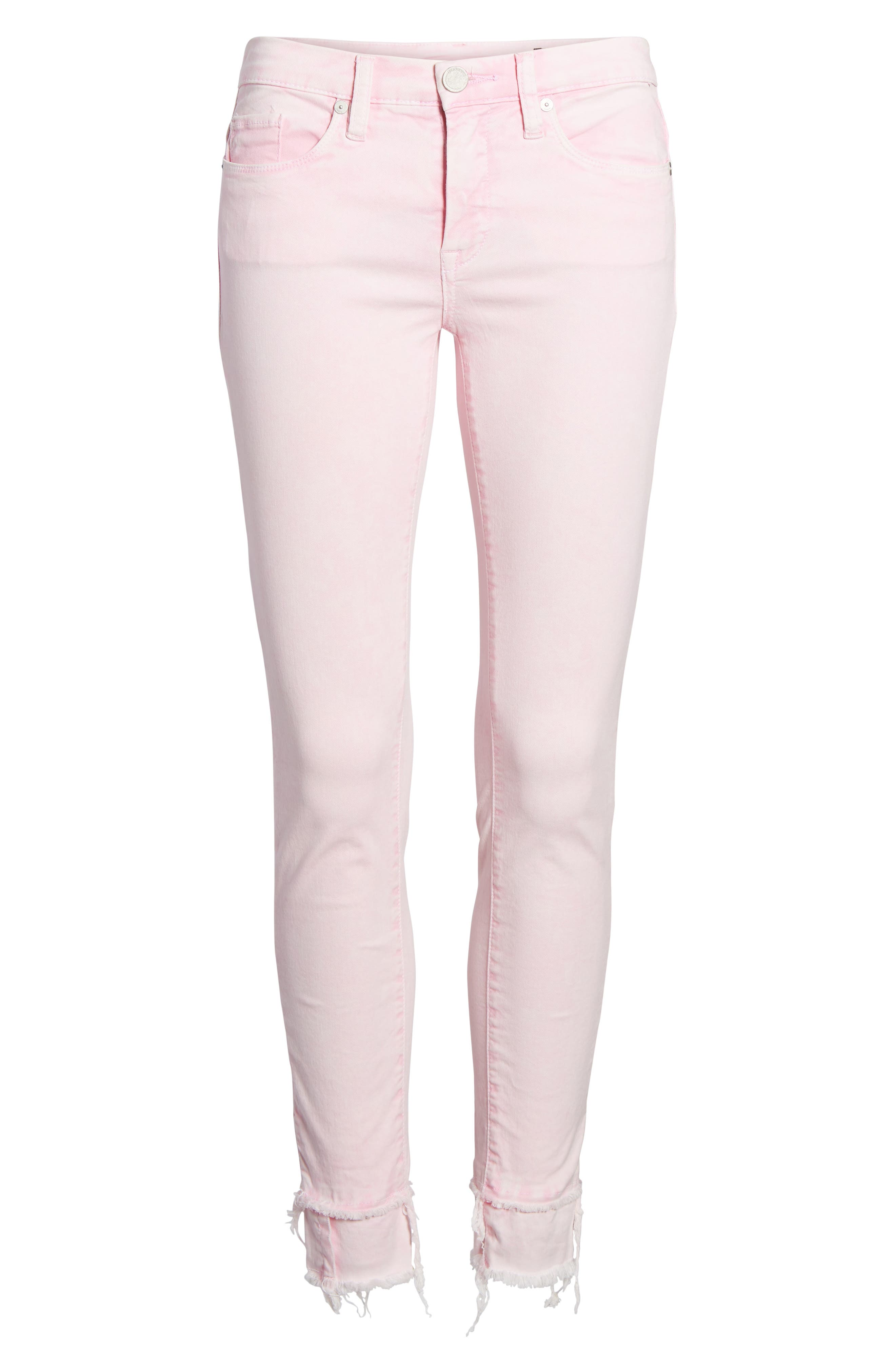 The Reade Classic Raw Hem Skinny Jeans,                             Alternate thumbnail 7, color,                             Pink