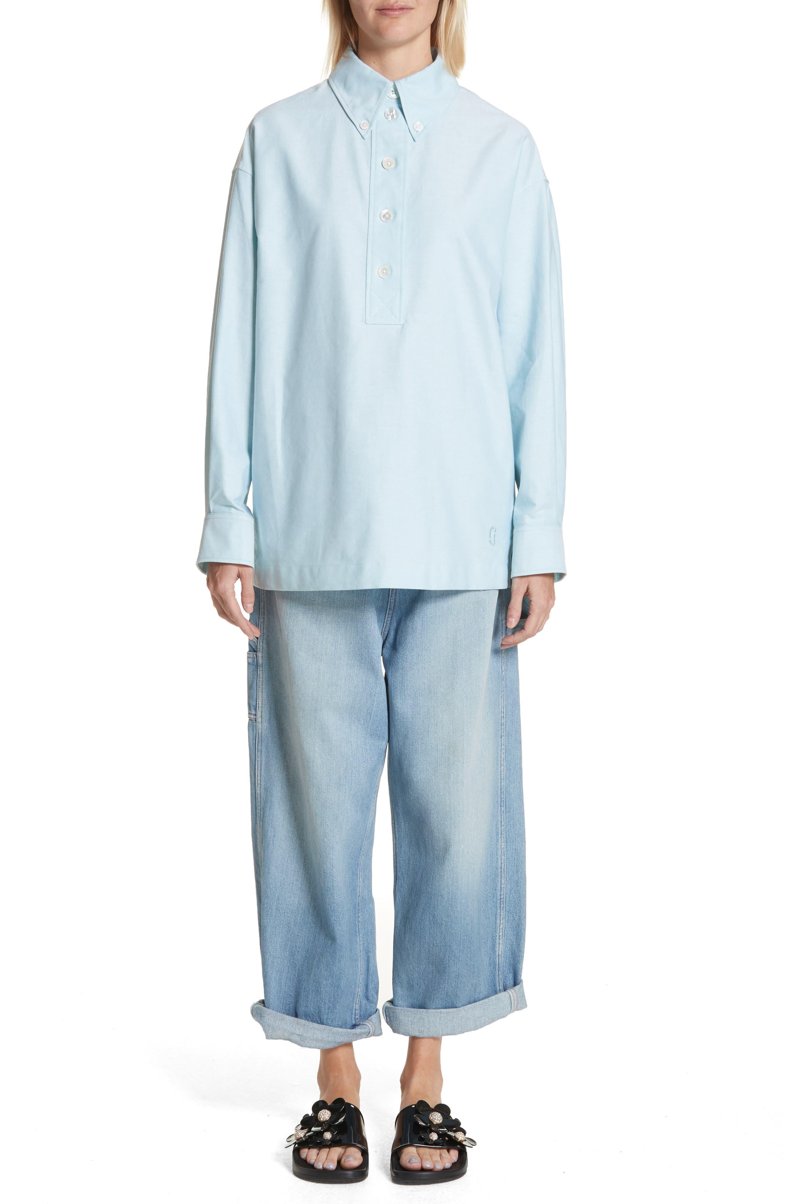 Oversize Half Placket Shirt,                             Alternate thumbnail 7, color,                             Light Turquoise