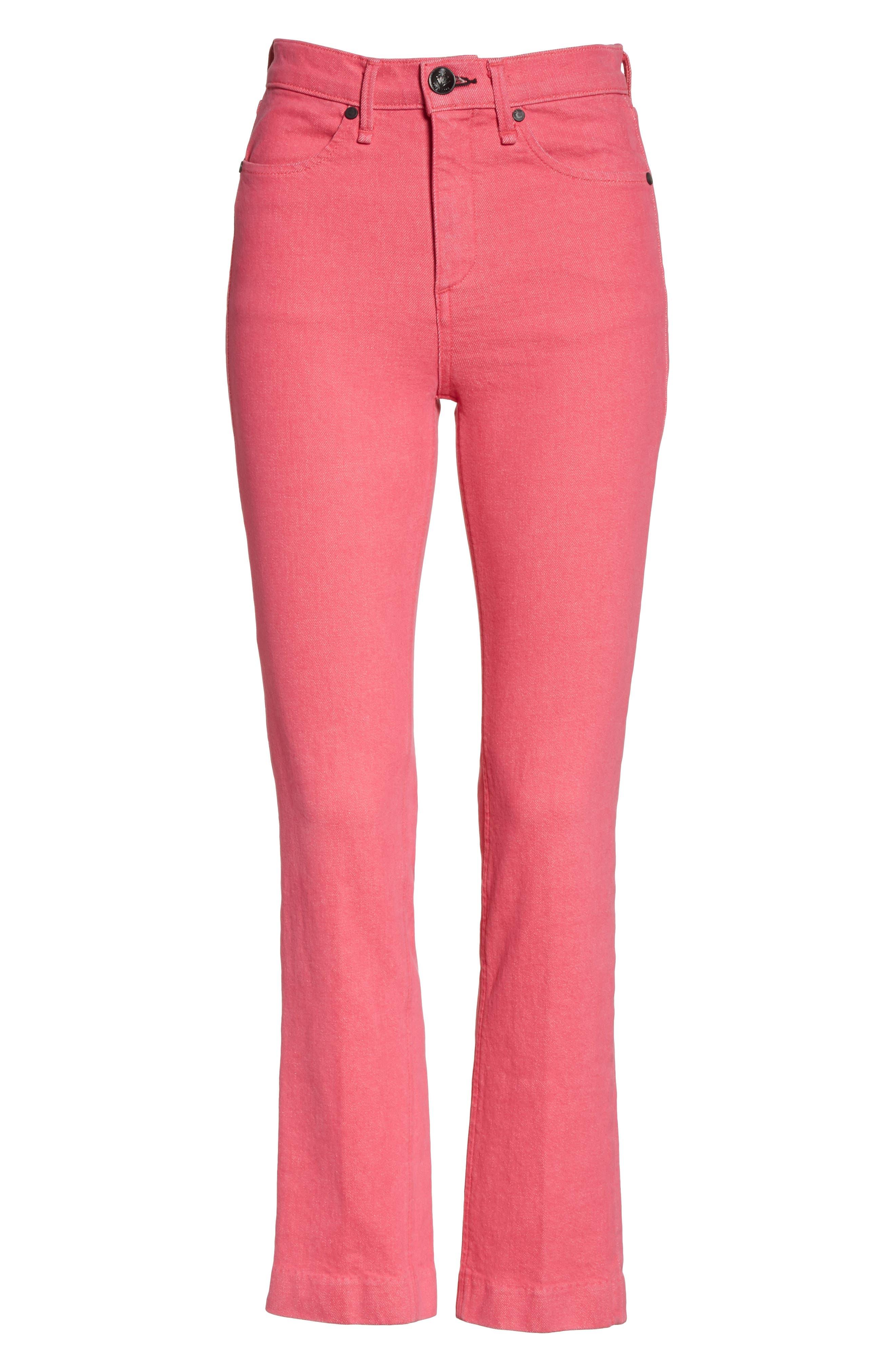 High Waist Ankle Cigarette Leg Jeans,                             Alternate thumbnail 7, color,                             Bull Pink