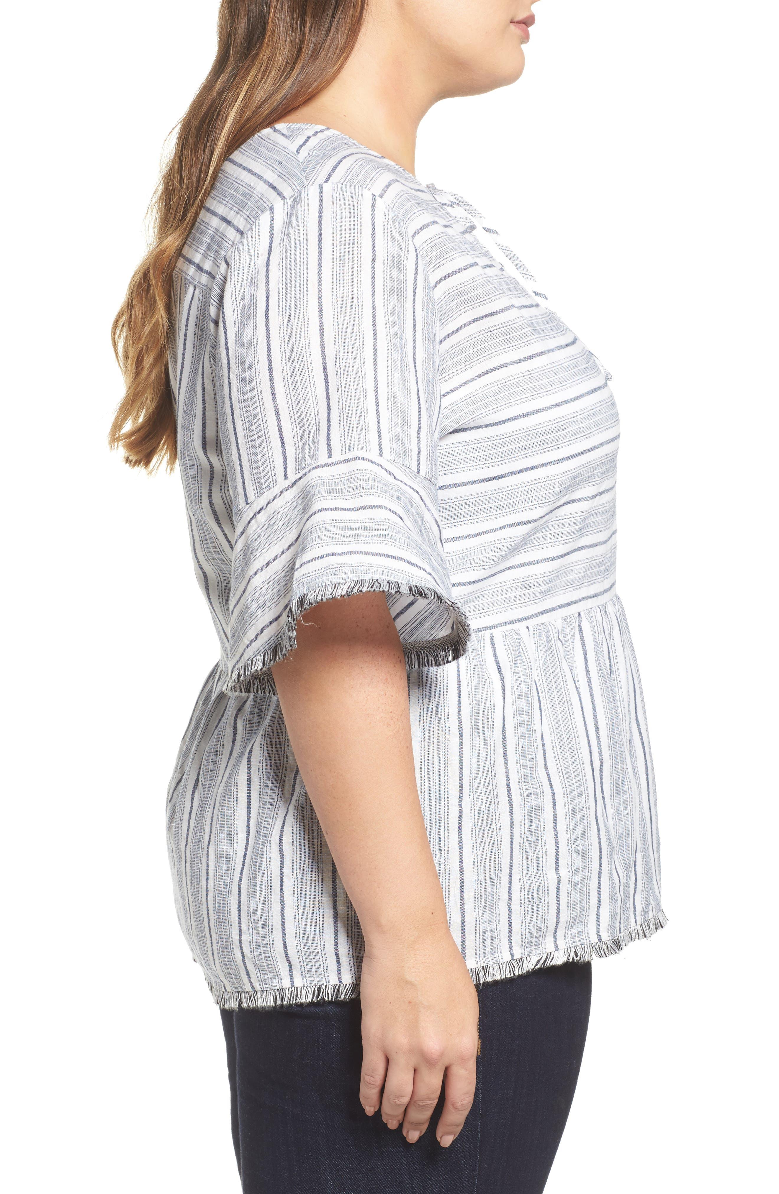 Stripe Fray Edge Linen Blend Top,                             Alternate thumbnail 3, color,                             Ivory- Navy Stripe