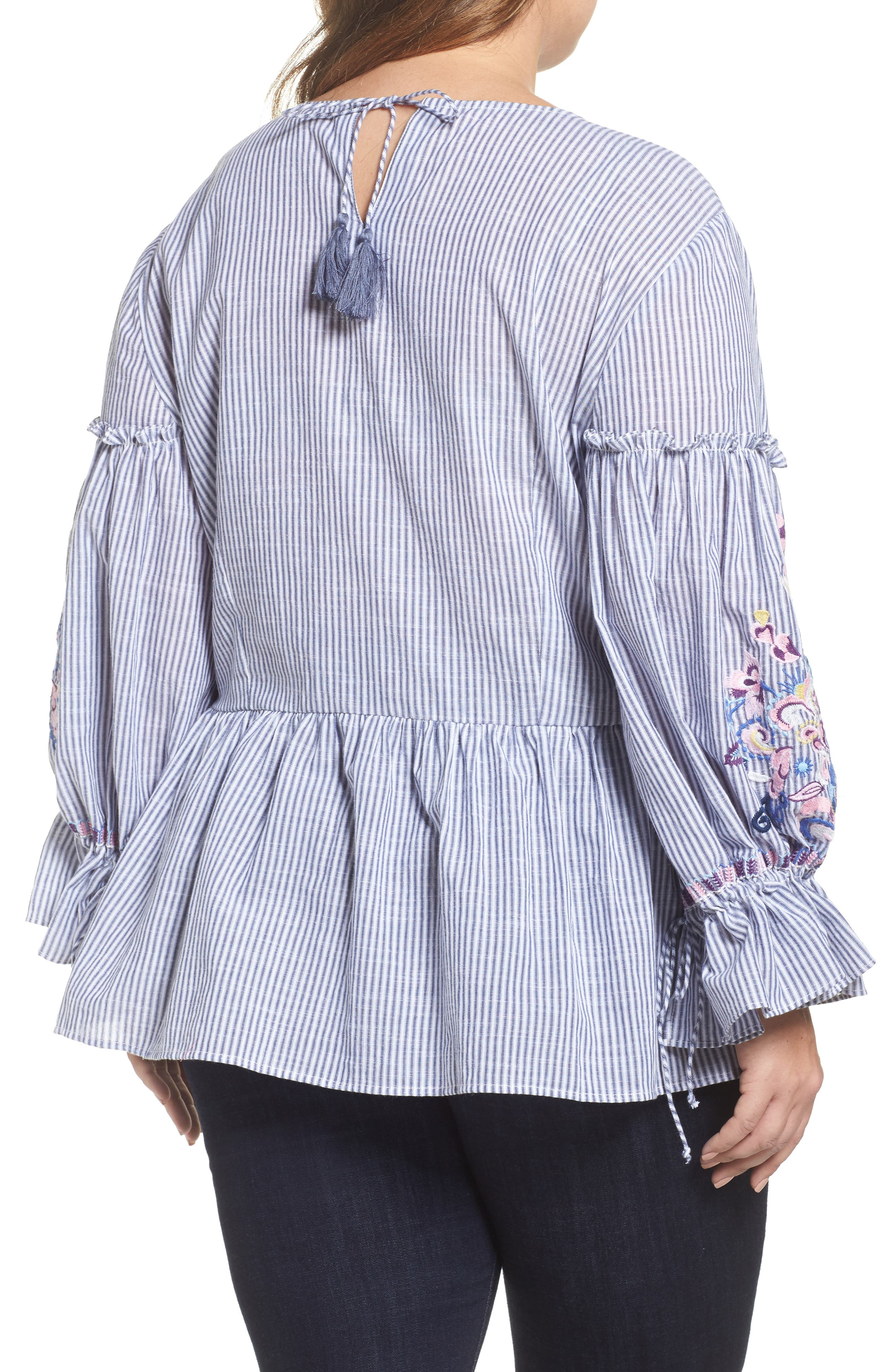 Embroidered Blouse,                             Alternate thumbnail 2, color,                             Blue-White