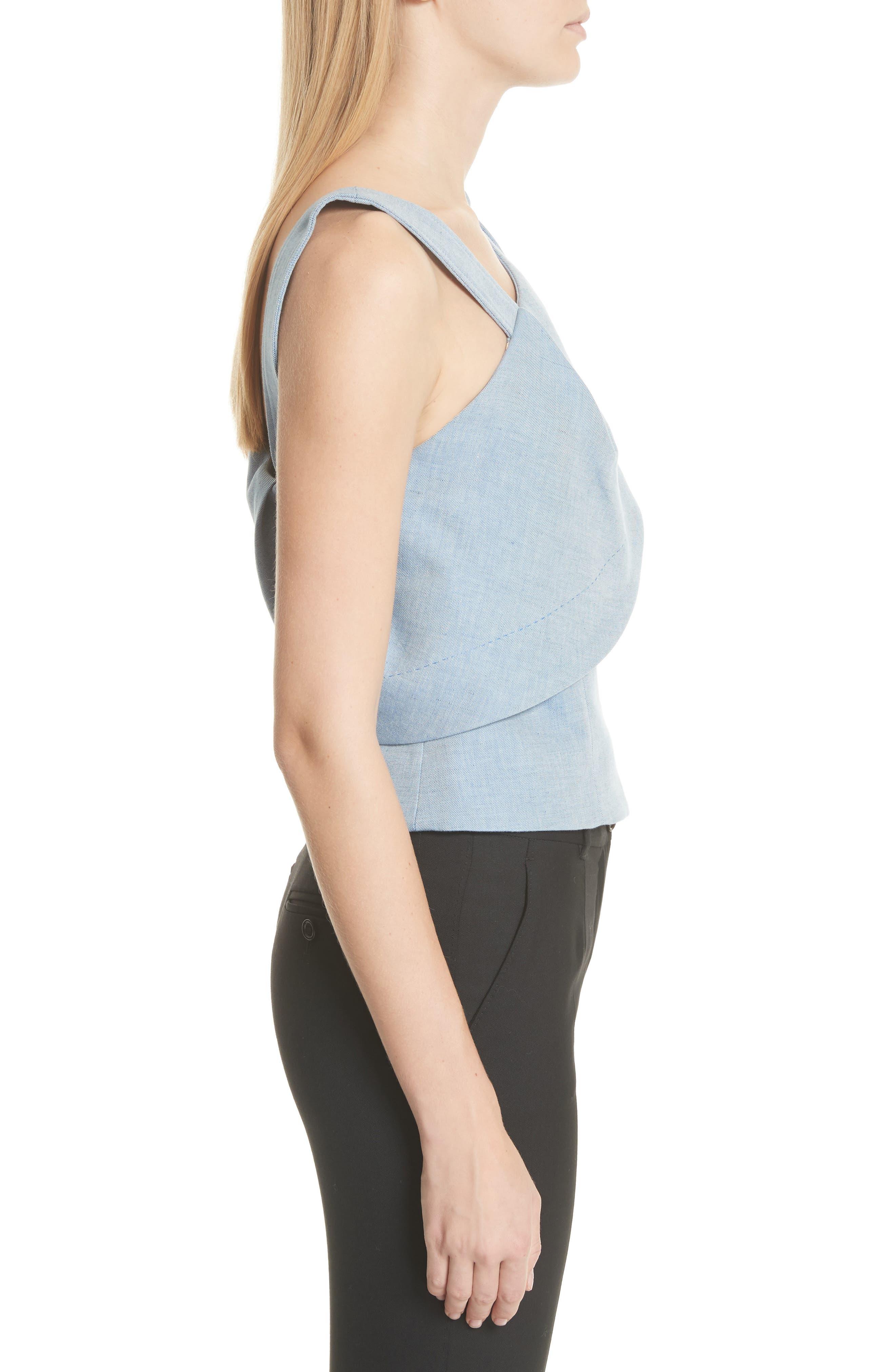 One-Shoulder Cotton & Linen Blend Top,                             Alternate thumbnail 3, color,                             Bleu Acier