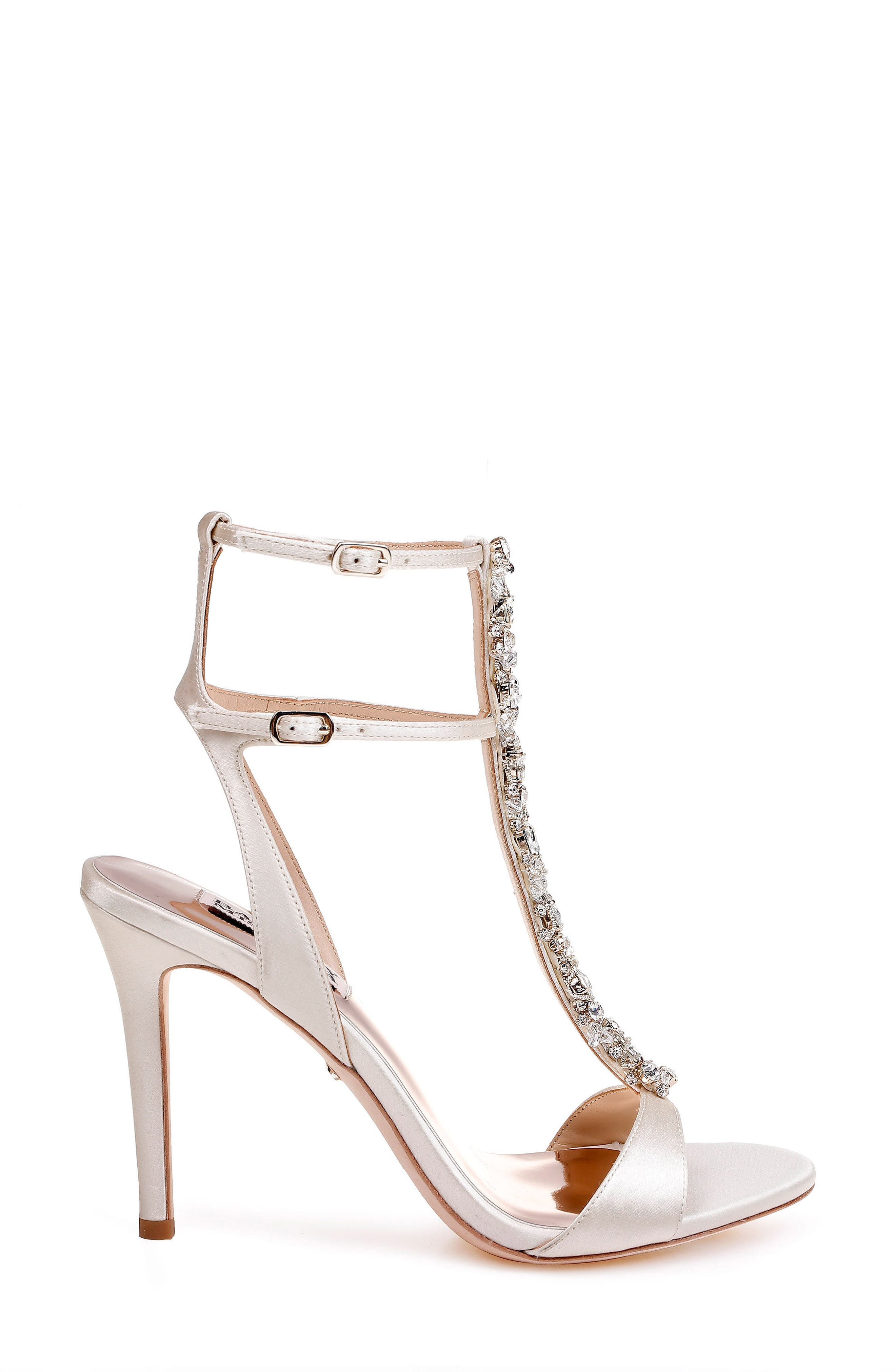 Hollow T-Strap Embellished Sandal,                             Alternate thumbnail 3, color,                             Ivory Leather