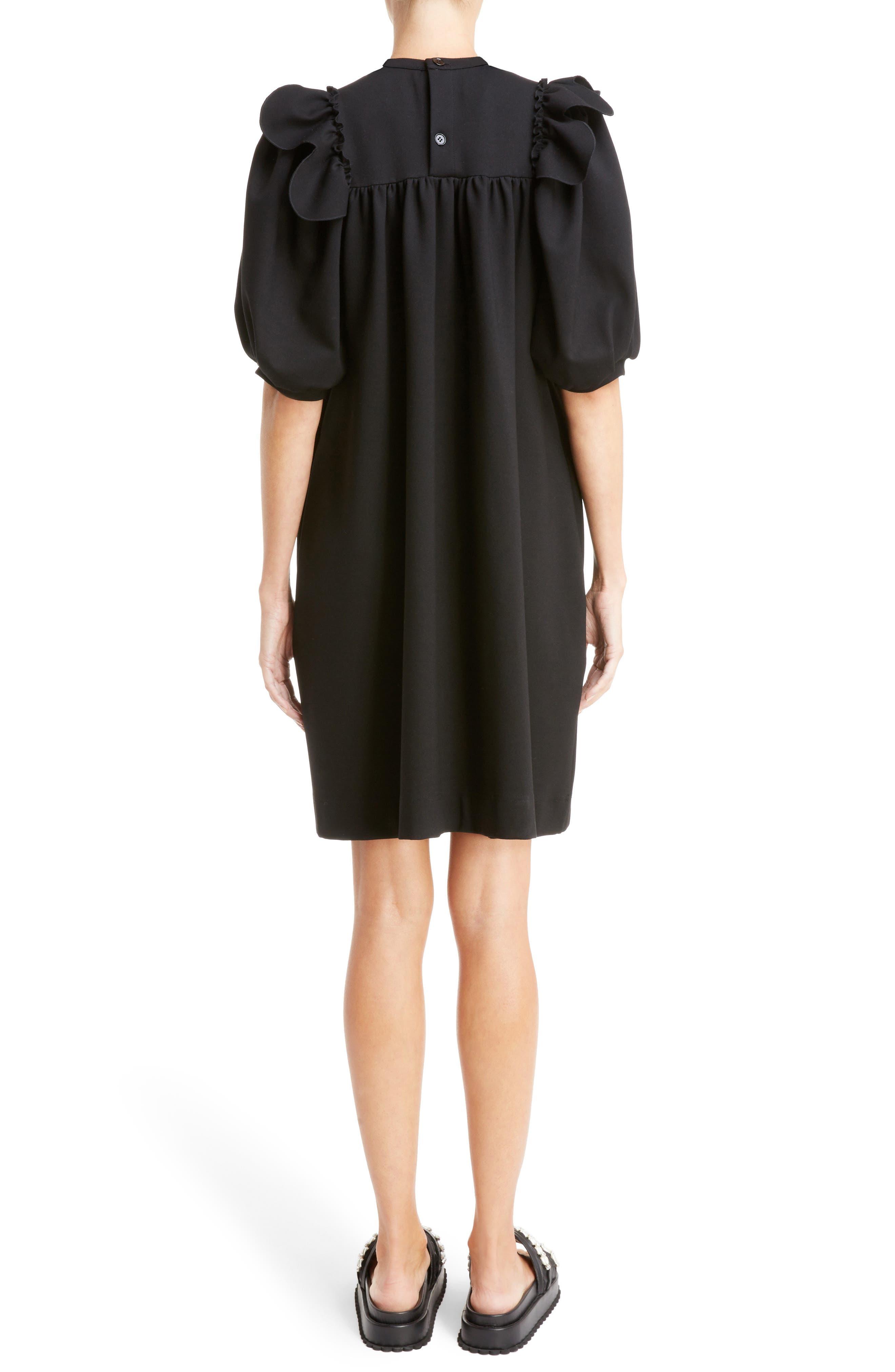 Ruffle Bib Dress,                             Alternate thumbnail 2, color,                             Black